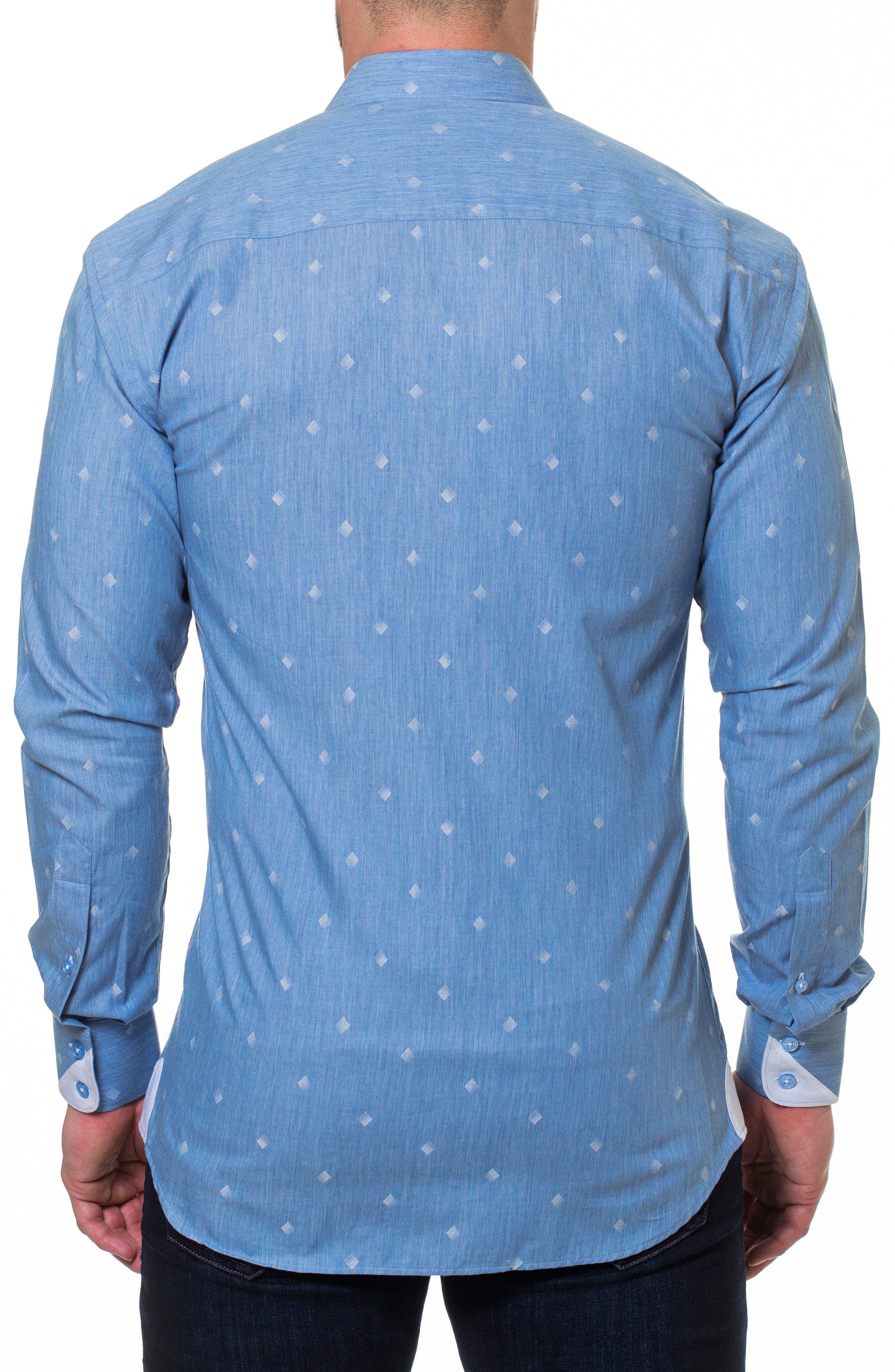 Wall Street Print Sport Shirt,                             Alternate thumbnail 2, color,                             Blue