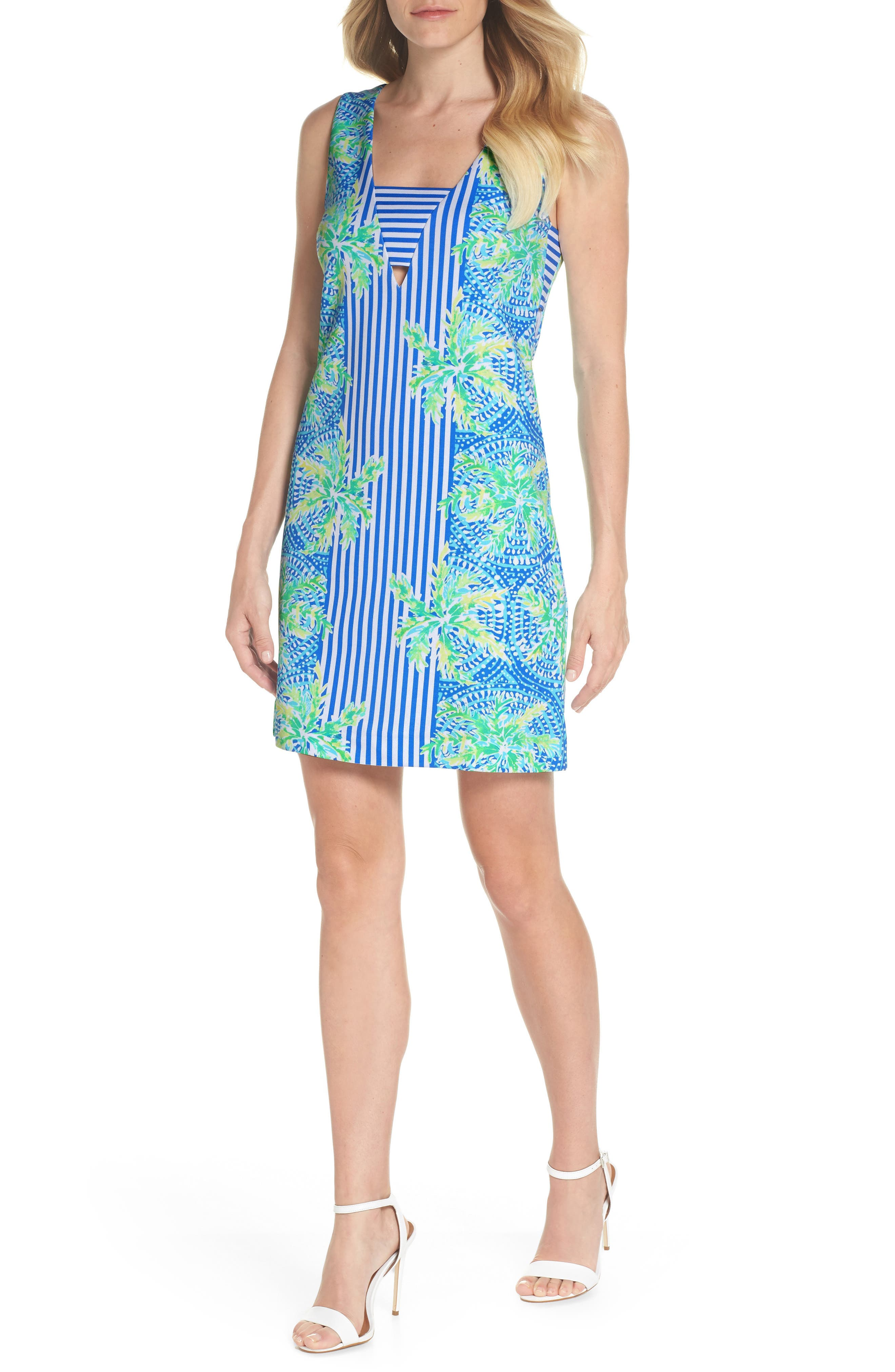 Chiara Stripe & Floral Print Dress,                         Main,                         color, Bennet Blue Tropic Like Its