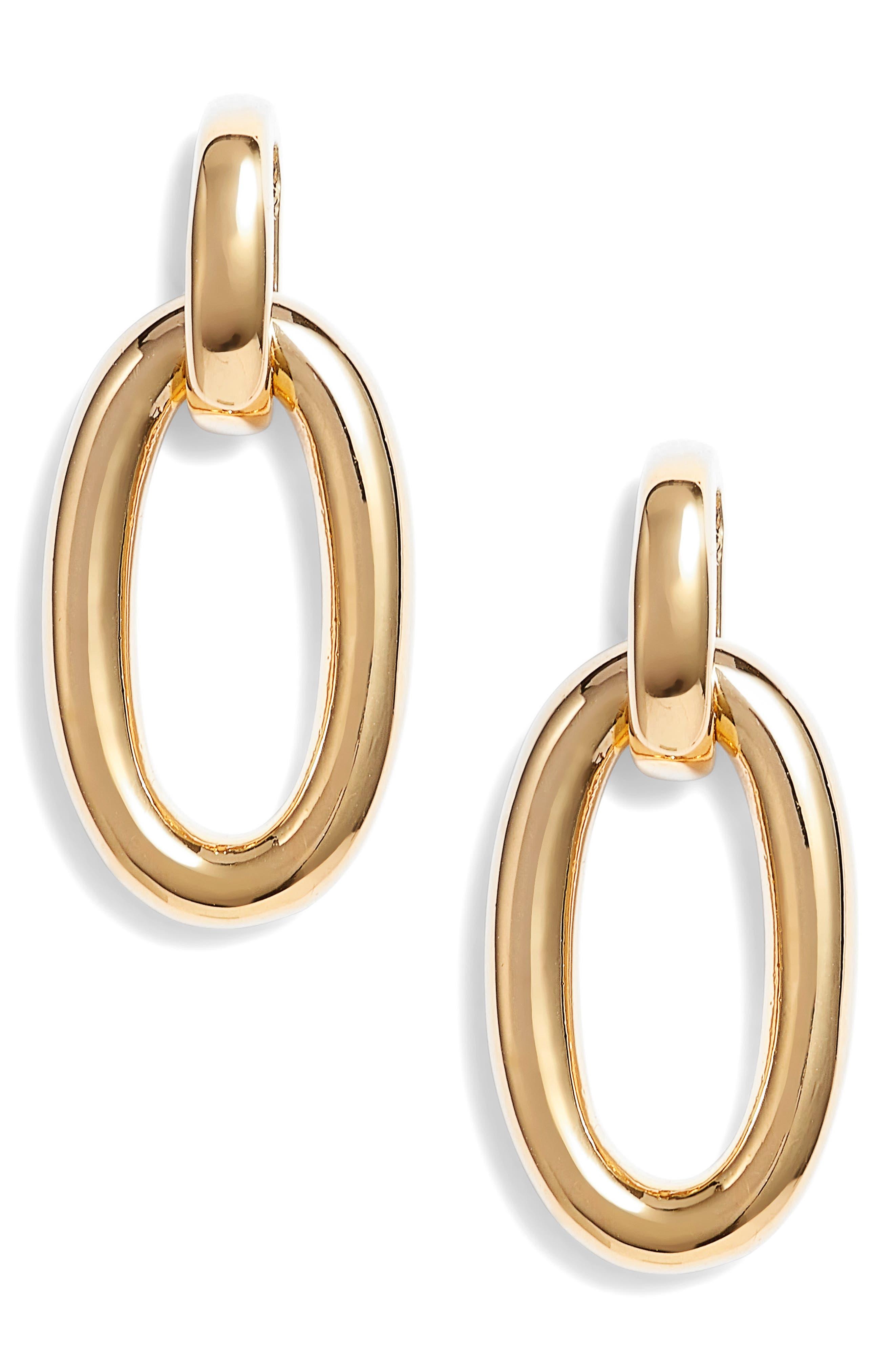 chain reaction link drop earrings,                             Main thumbnail 1, color,                             Gold