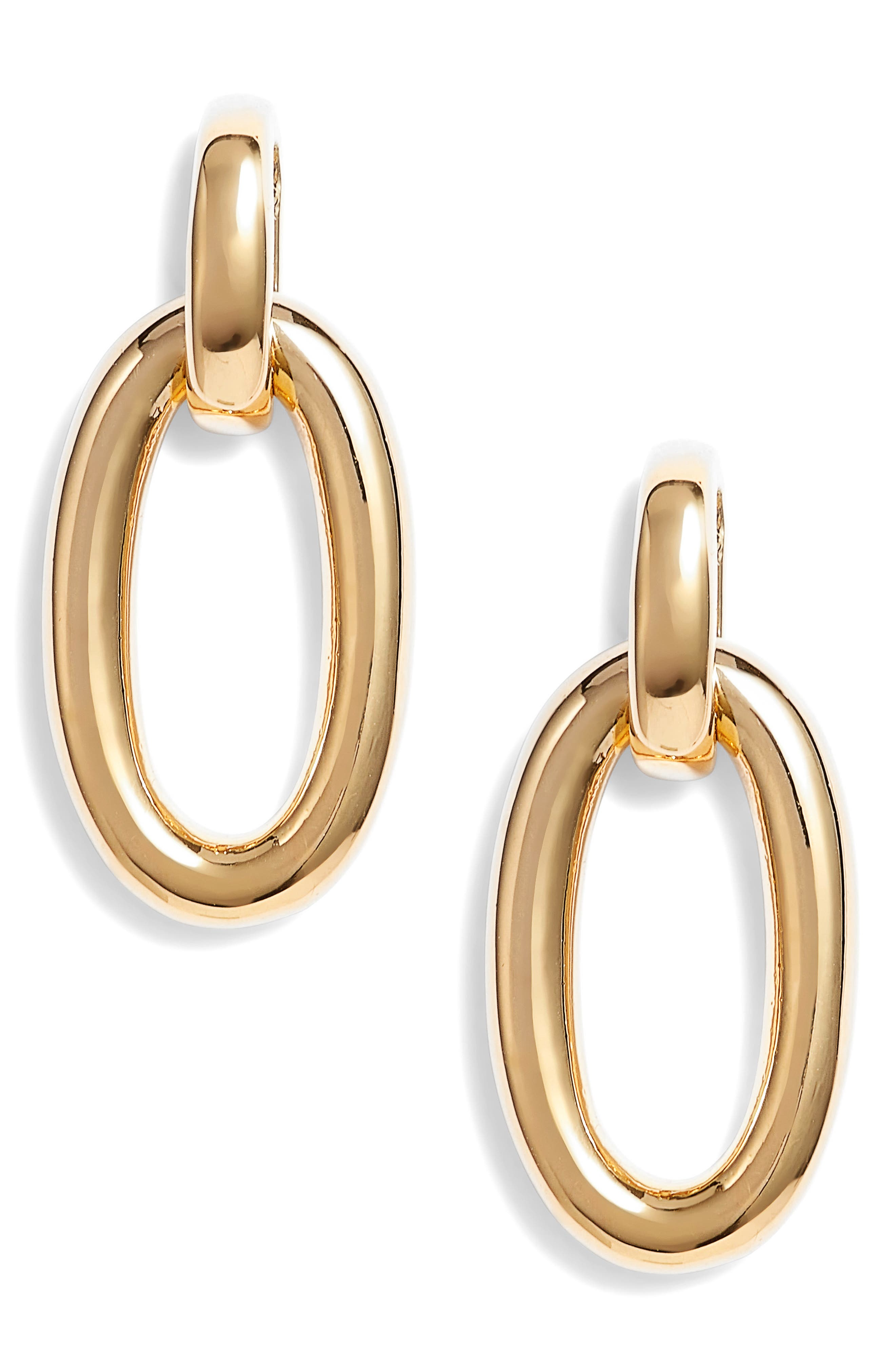 chain reaction link drop earrings,                         Main,                         color, Gold