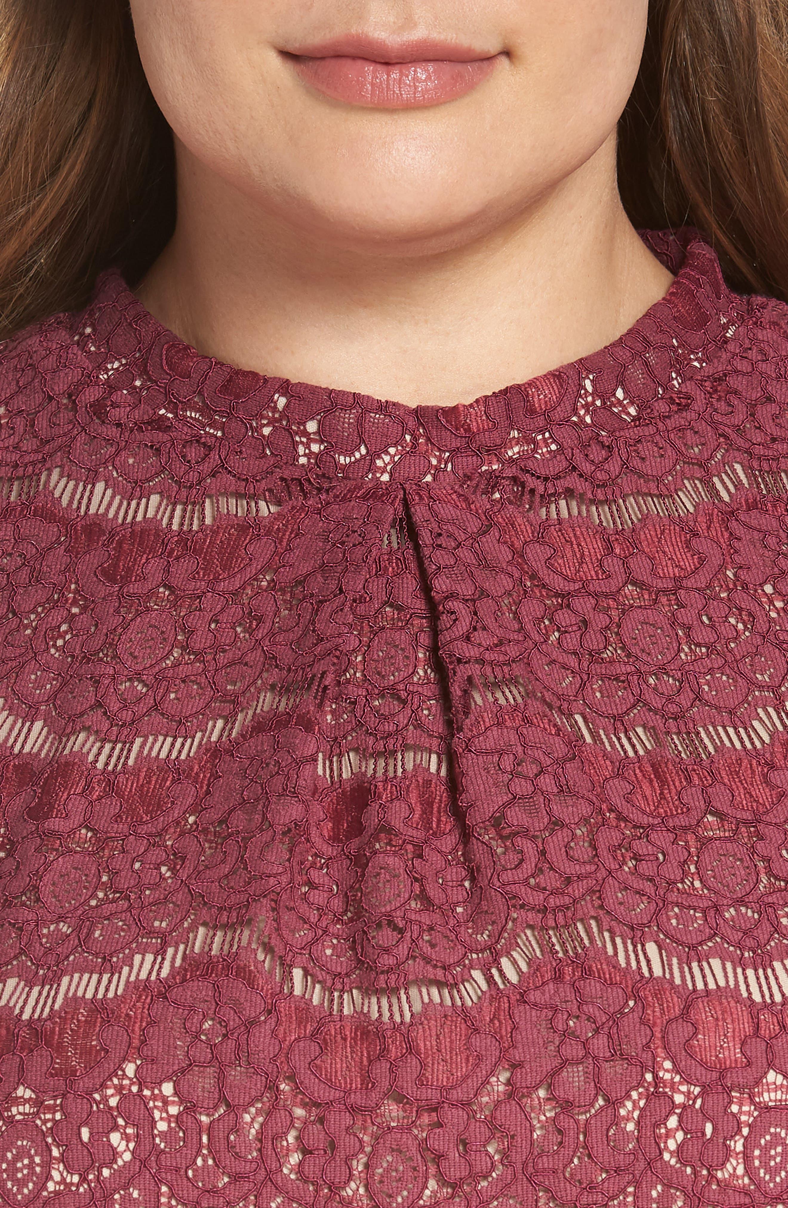 Lace Top,                             Alternate thumbnail 4, color,                             Hawthorn Rose