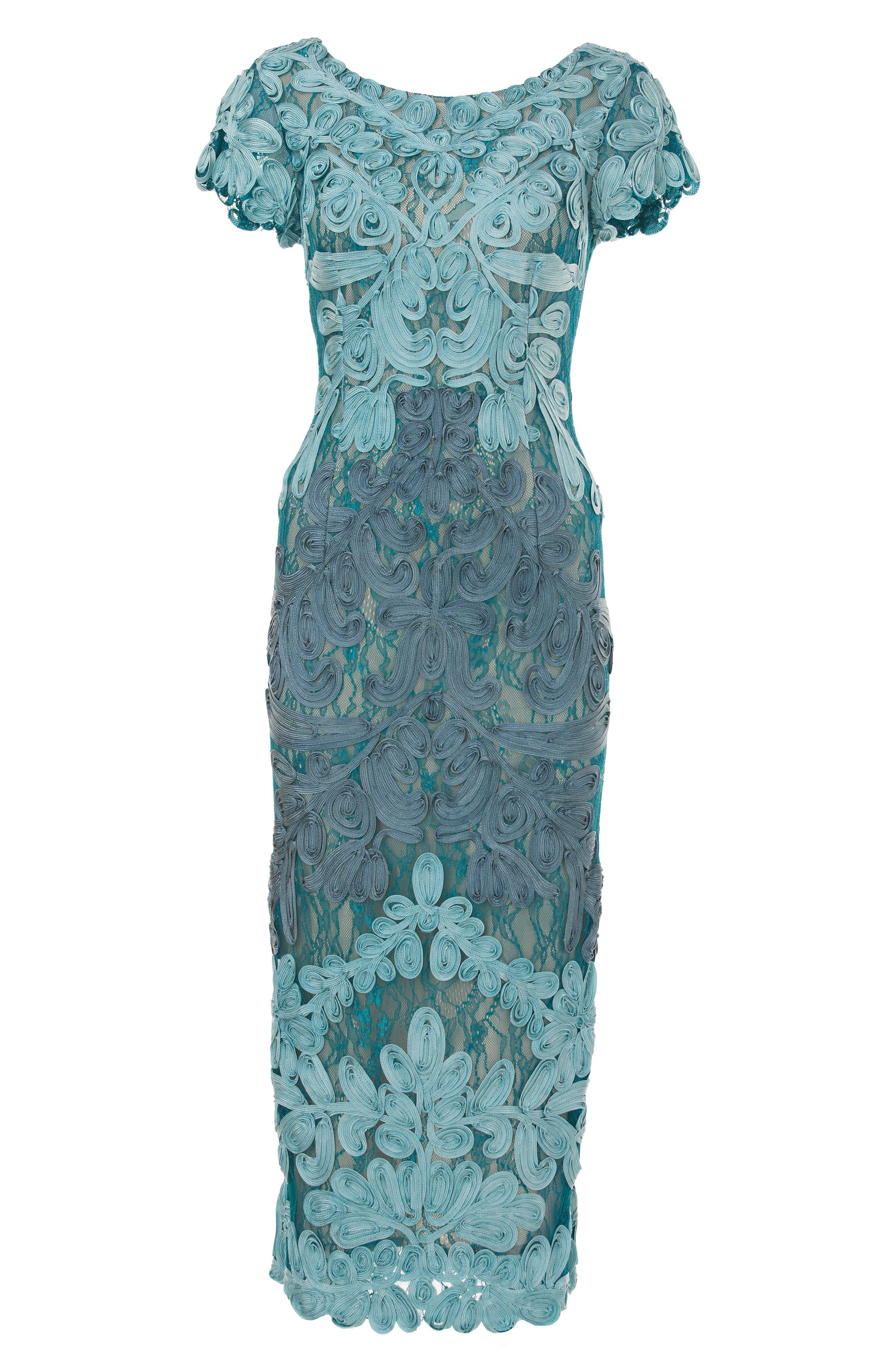 Soutache Lace Midi Dress,                             Alternate thumbnail 3, color,                             Azure/ Grey