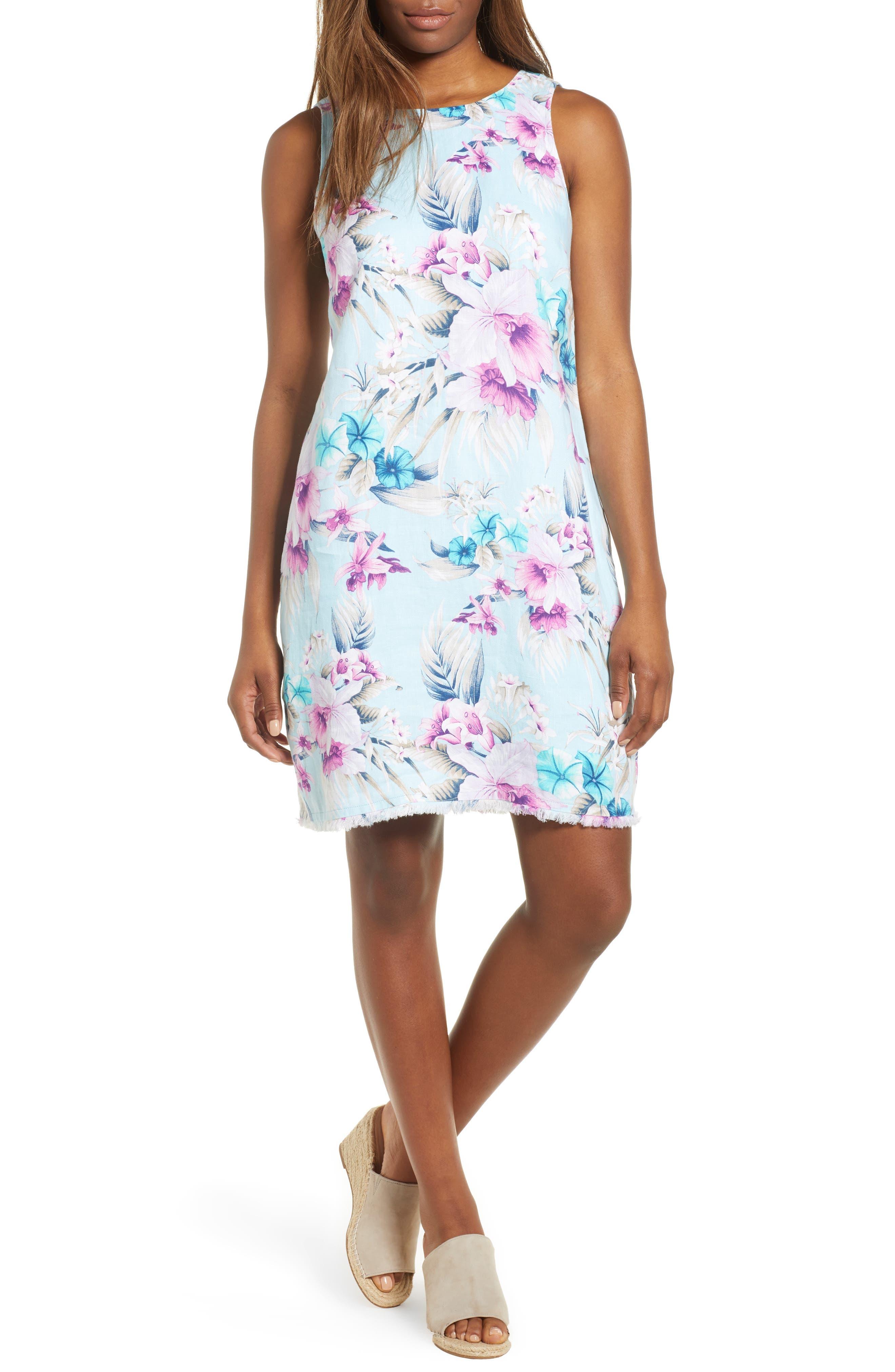 Tommy Bahama Print Frayed Trim Shift Dress