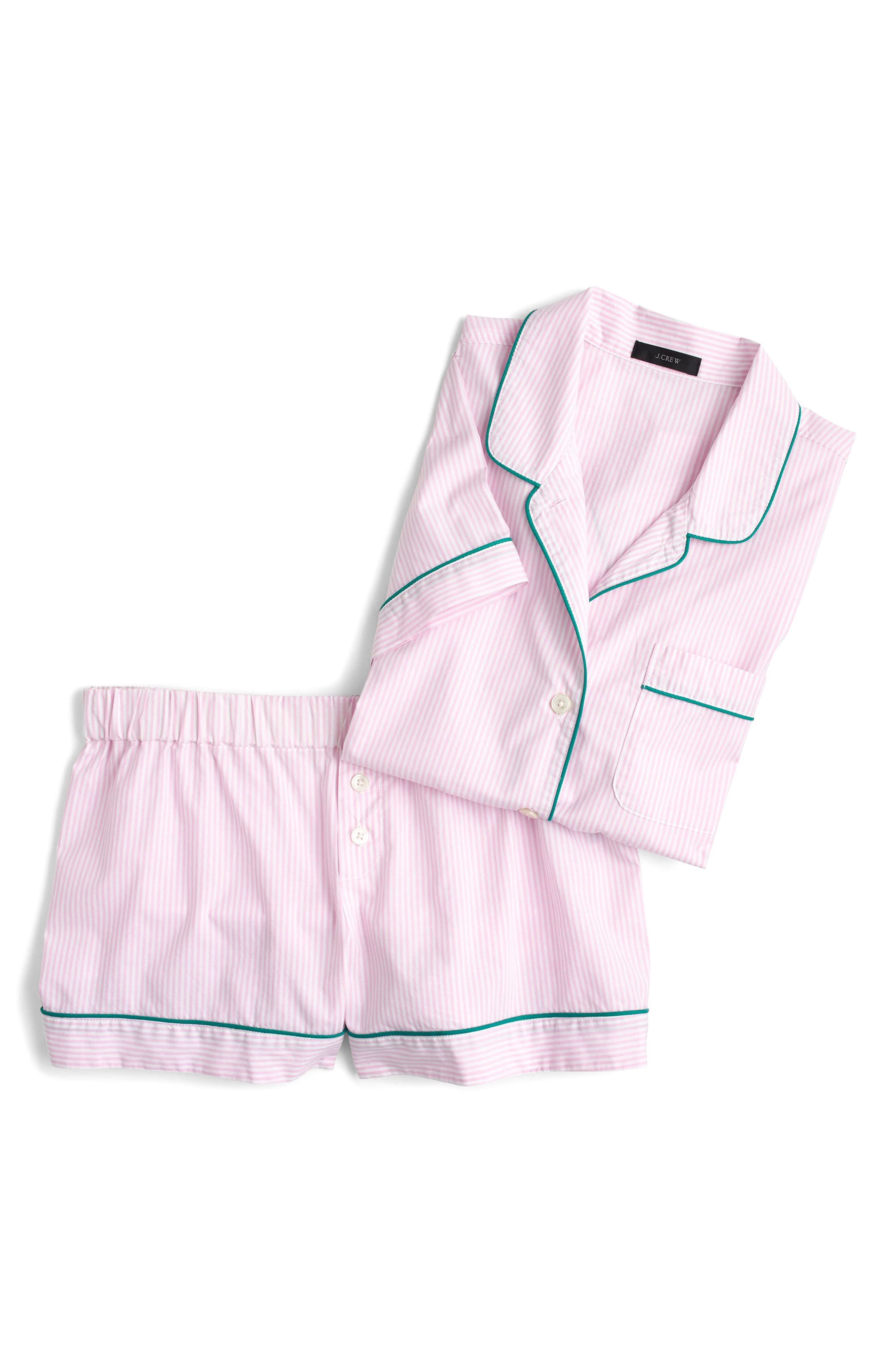 Tipped Short Pajamas,                             Alternate thumbnail 4, color,                             White Hibiscus