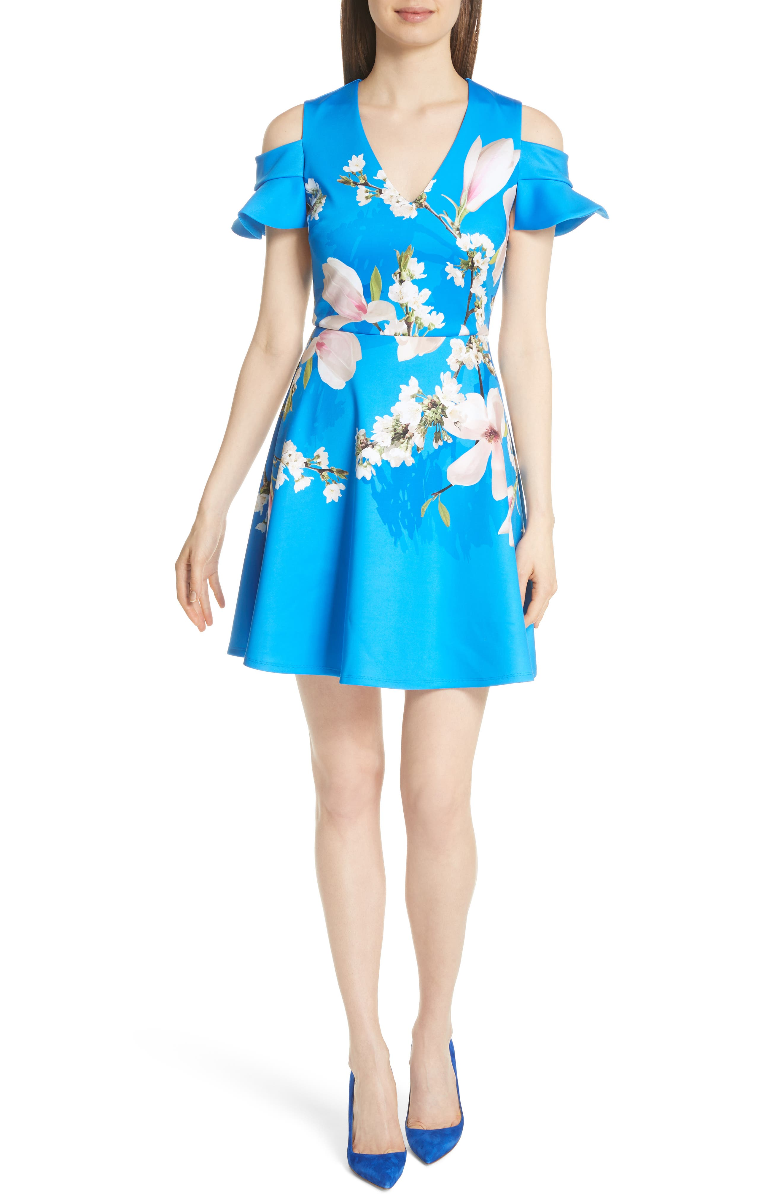 Harmony Cold Shoulder Dress,                             Main thumbnail 1, color,                             Bright Blue