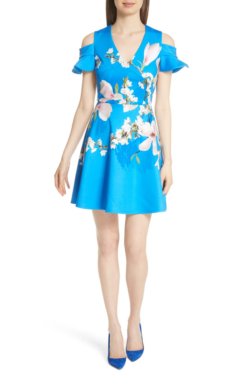 124e24f74 Ted Baker Ambre Harmony Cold Shoulder Dress In Bright Blue