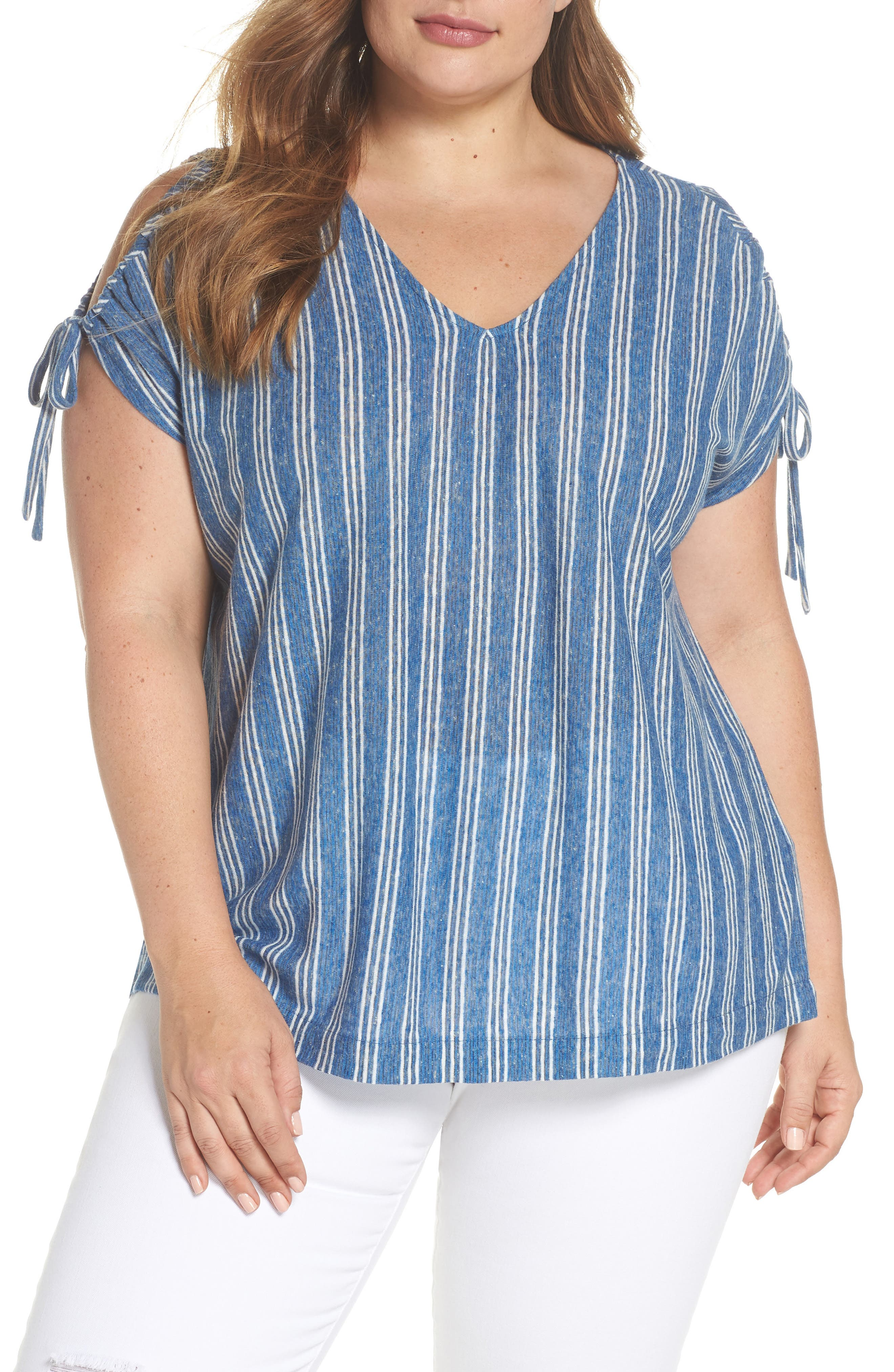 Lucky Brand Stripe Tie Shoulder Linen Blend Tee (Plus Size)