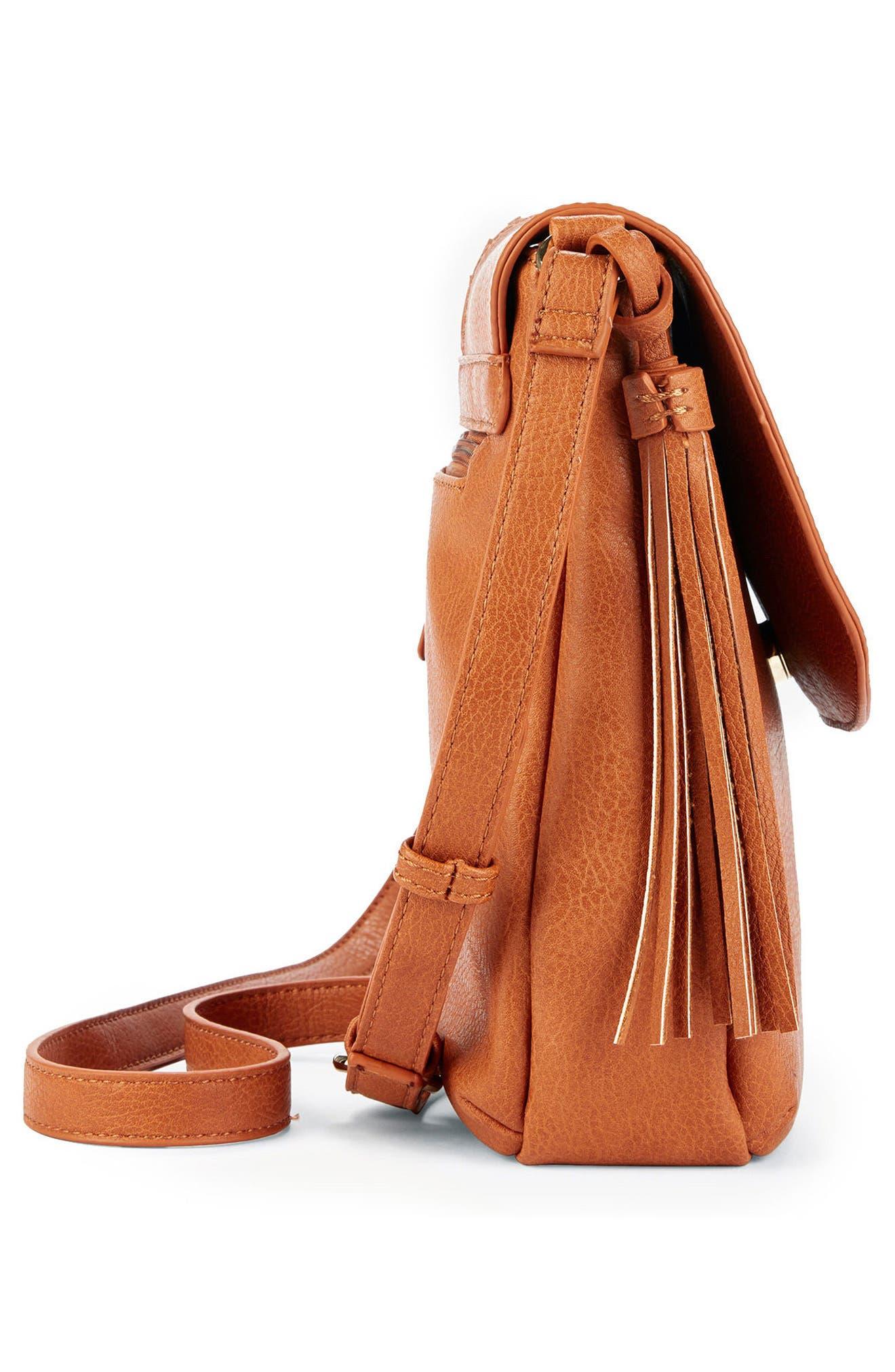 Tara Stitch Detail Faux Leather Crossbody Bag,                             Alternate thumbnail 3, color,                             Cognac