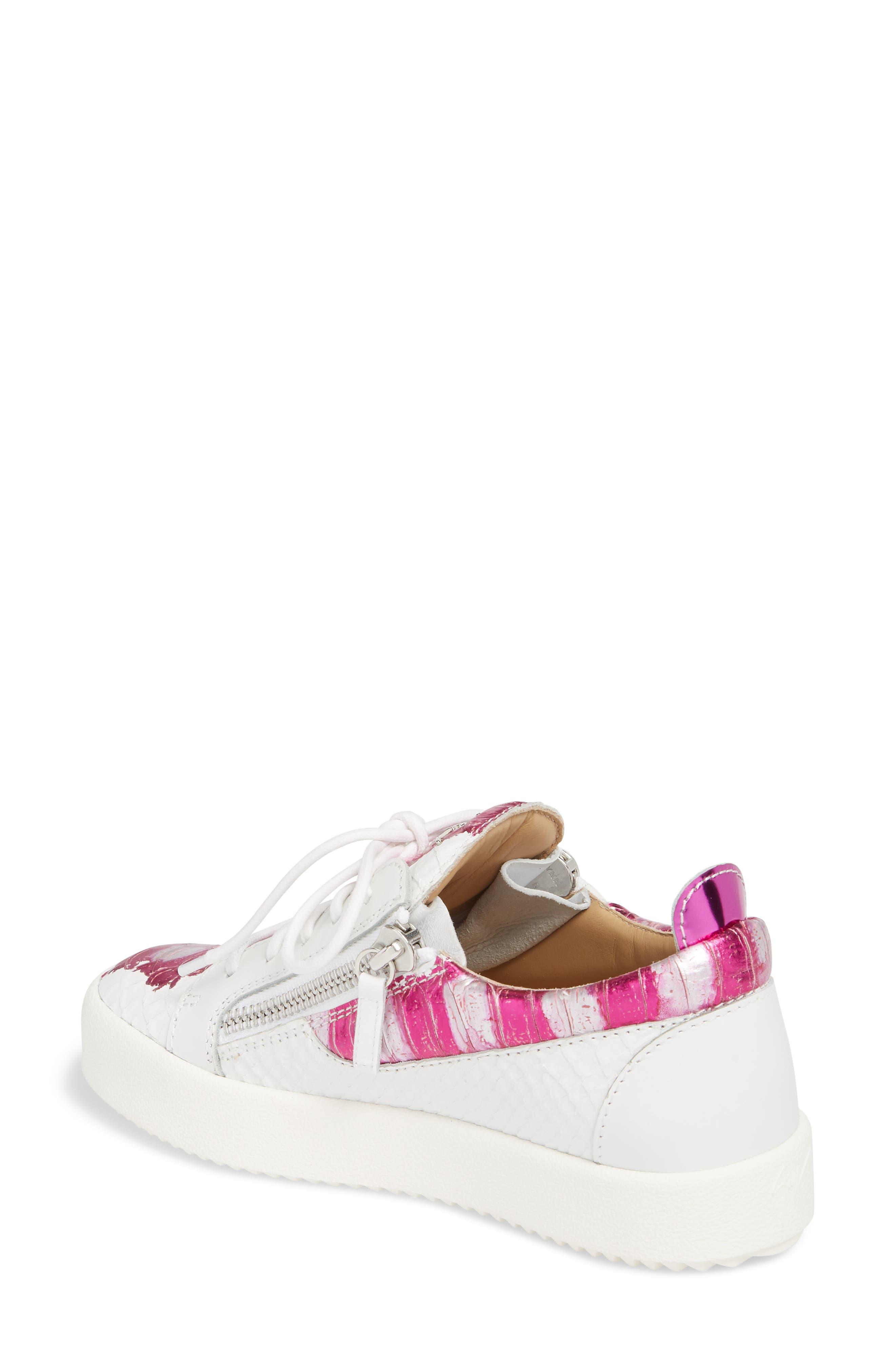 Low Top Sneaker,                             Alternate thumbnail 2, color,                             White/ Fuchsia