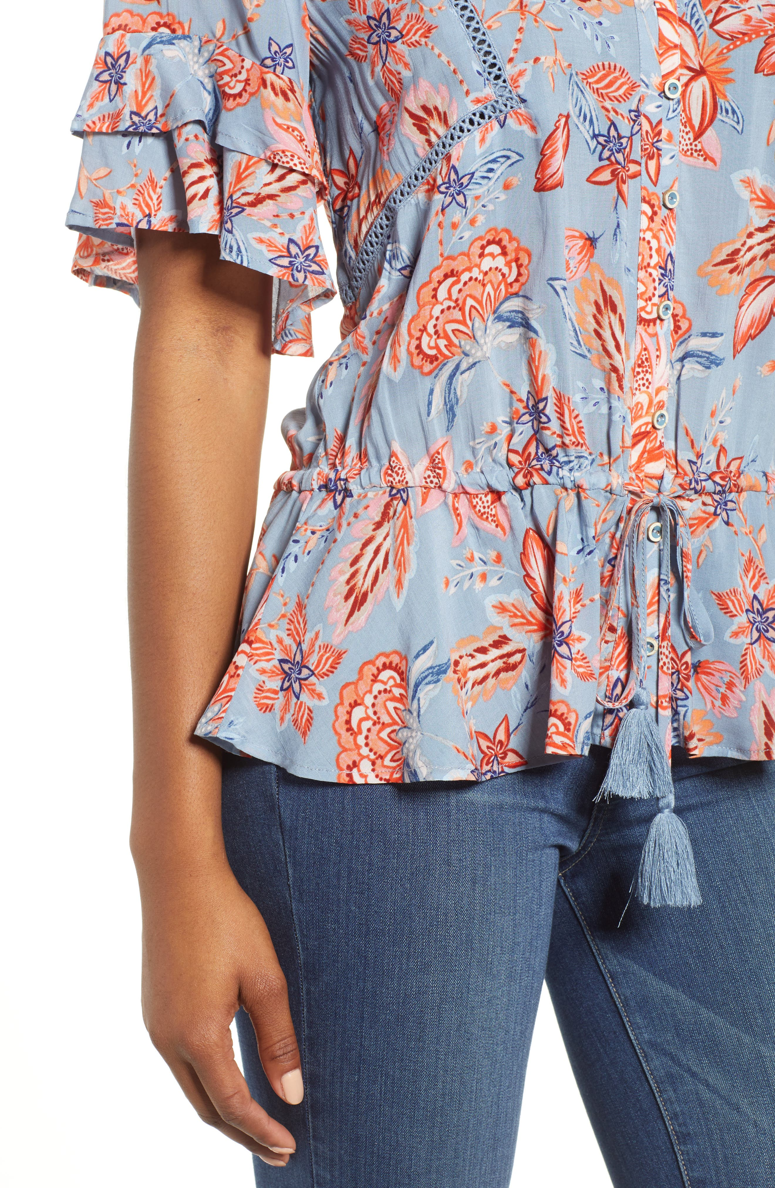 Alternate Image 4  - Wit & Wisdom Double Flounce Floral Top (Nordstrom Exclusive)