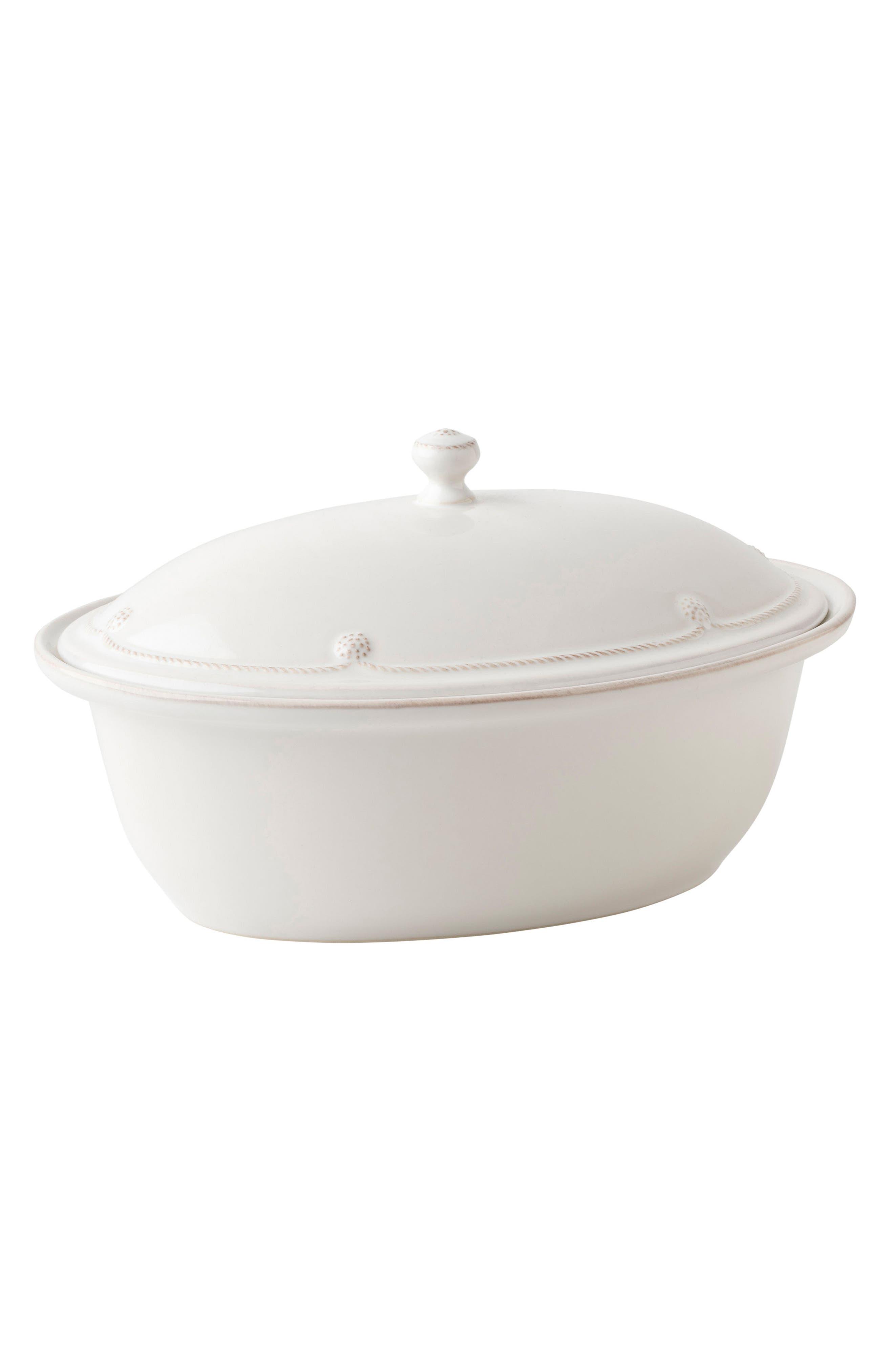 Berry & Thread Whitewash Ceramic Covered Casserole Dish,                             Alternate thumbnail 3, color,                             Whitewash