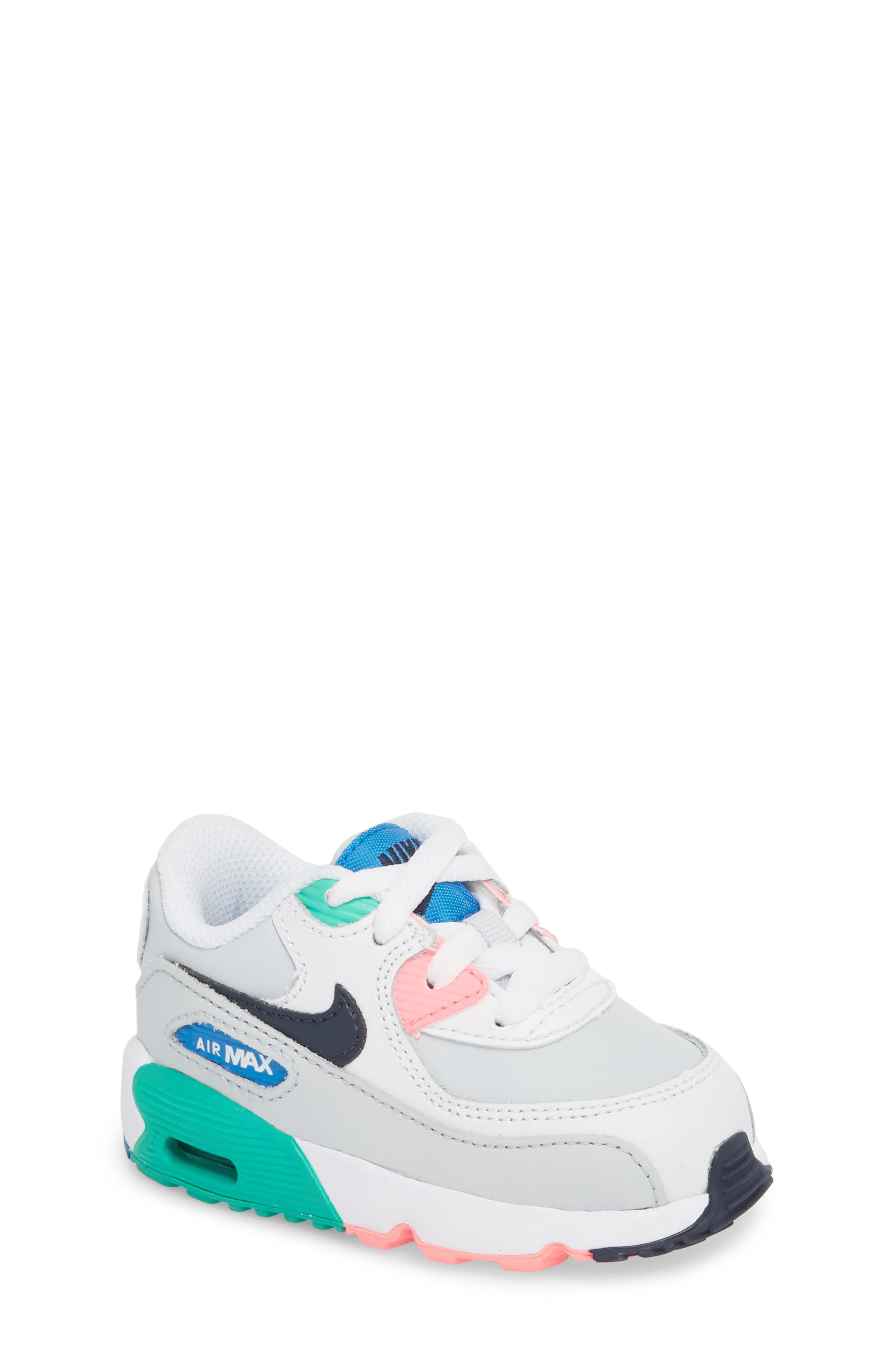 Air Max 90 Sneaker,                         Main,                         color, White/ Obsidian/ Blue Nebula