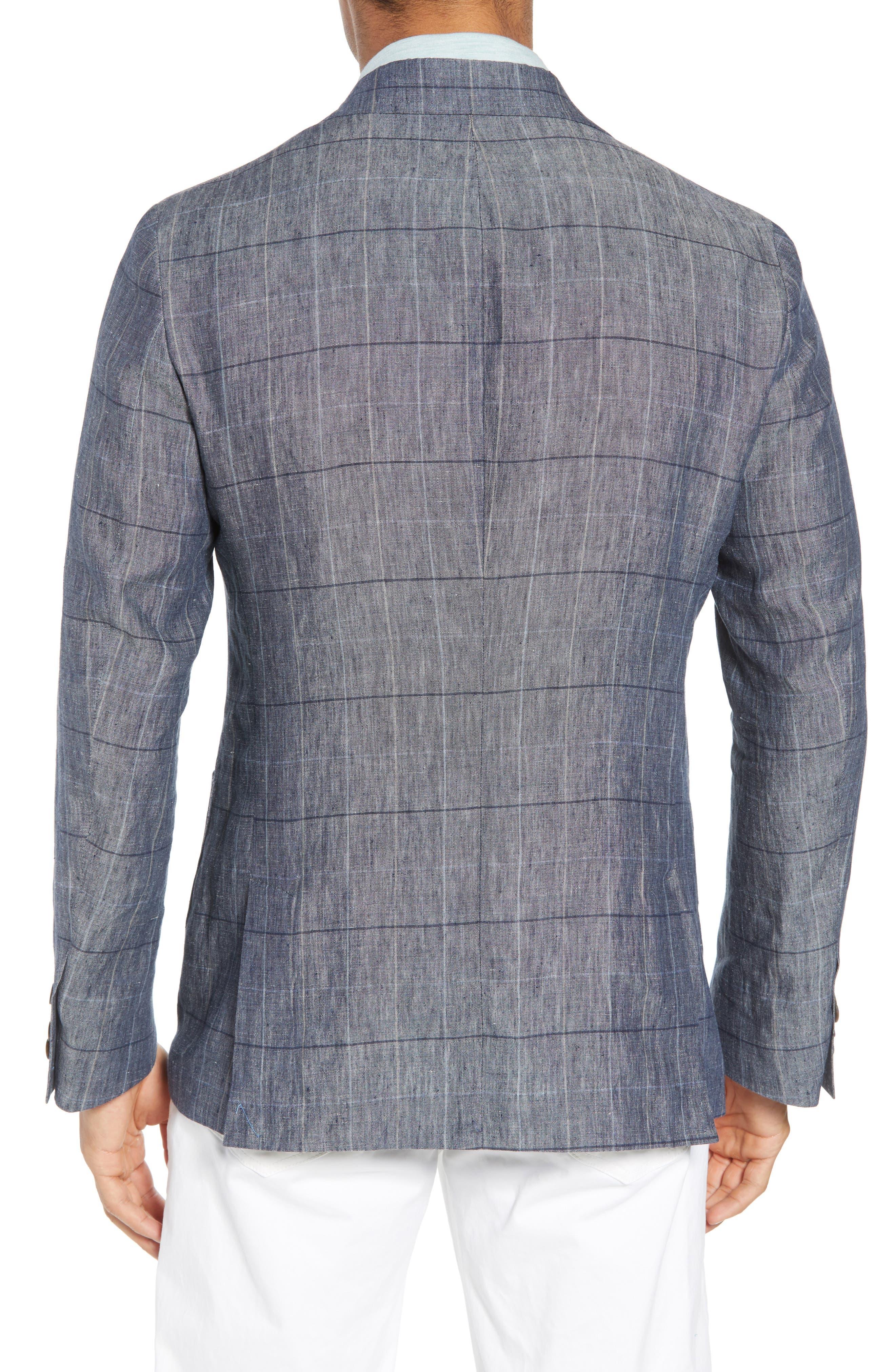 Vantage Trim Fit Windowpane Linen Sport Coat,                             Alternate thumbnail 2, color,                             Blue Graphite