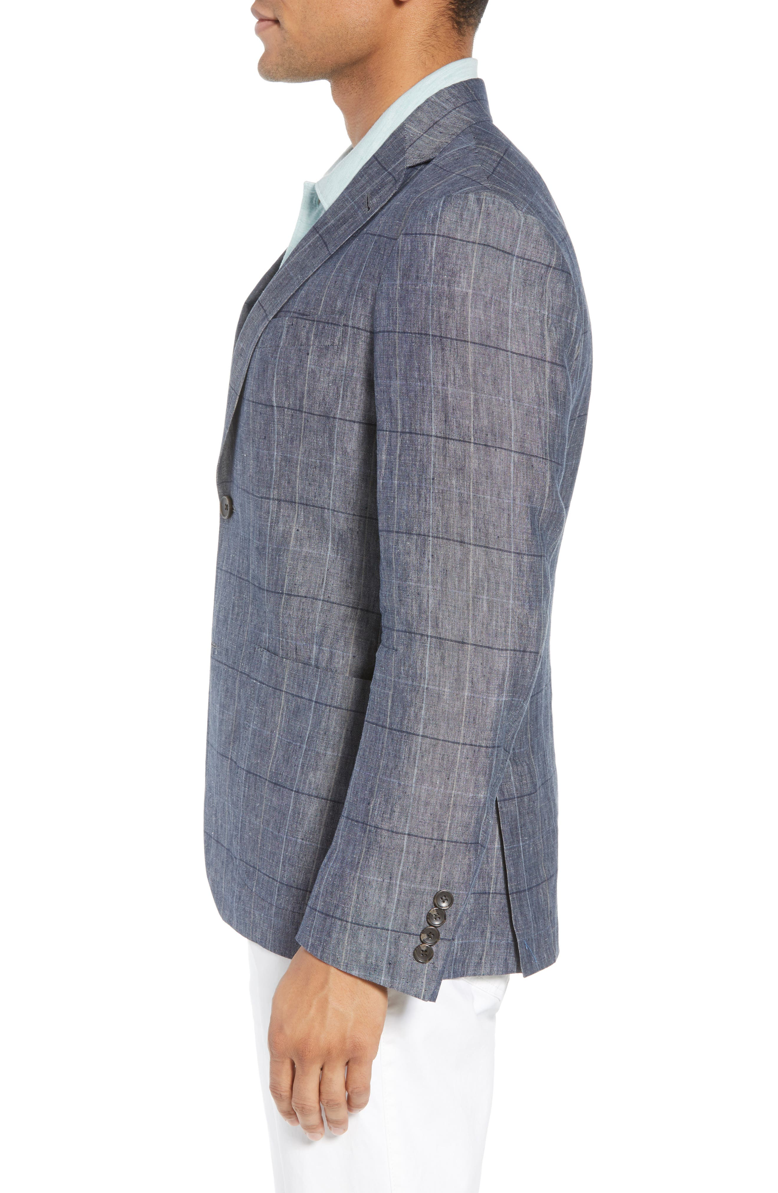 Vantage Trim Fit Windowpane Linen Sport Coat,                             Alternate thumbnail 3, color,                             Blue Graphite