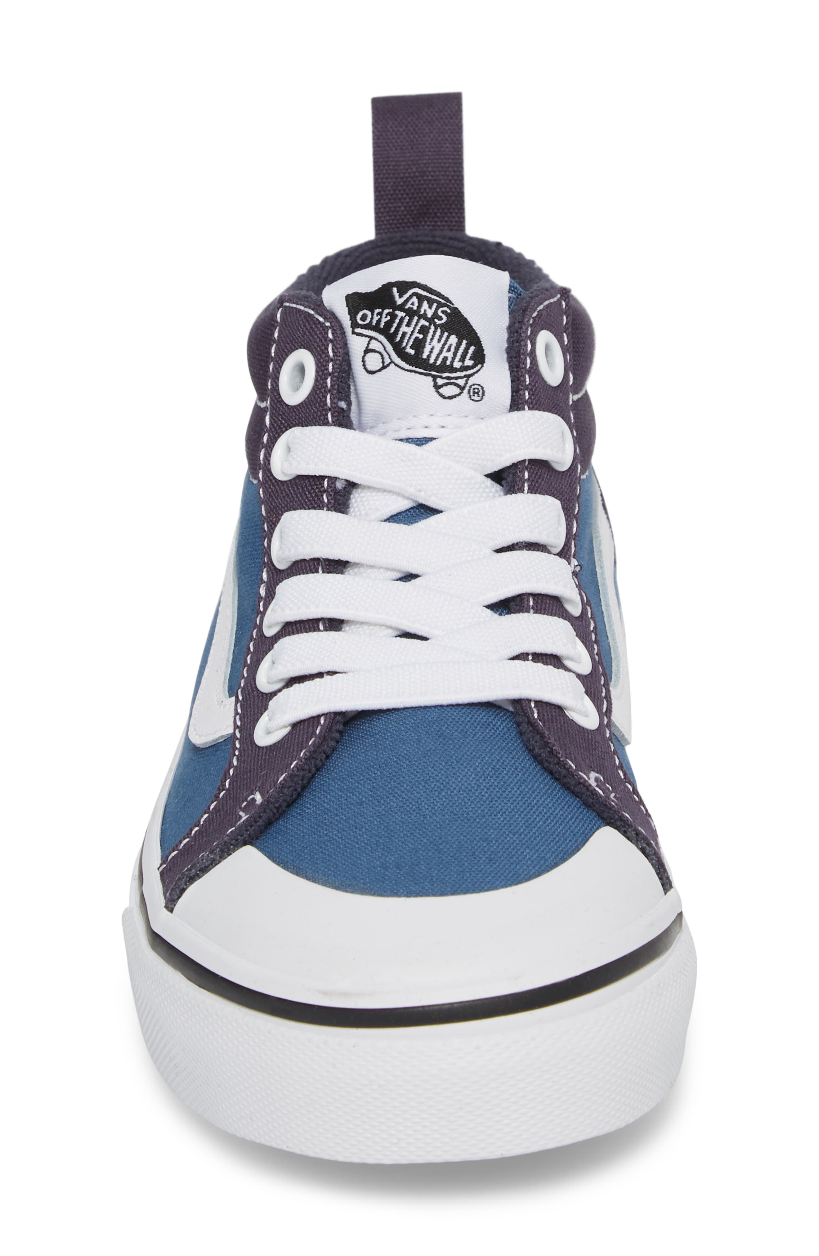 Racer Mid Elastic Lace Sneaker,                             Alternate thumbnail 4, color,                             Navy/ Navy