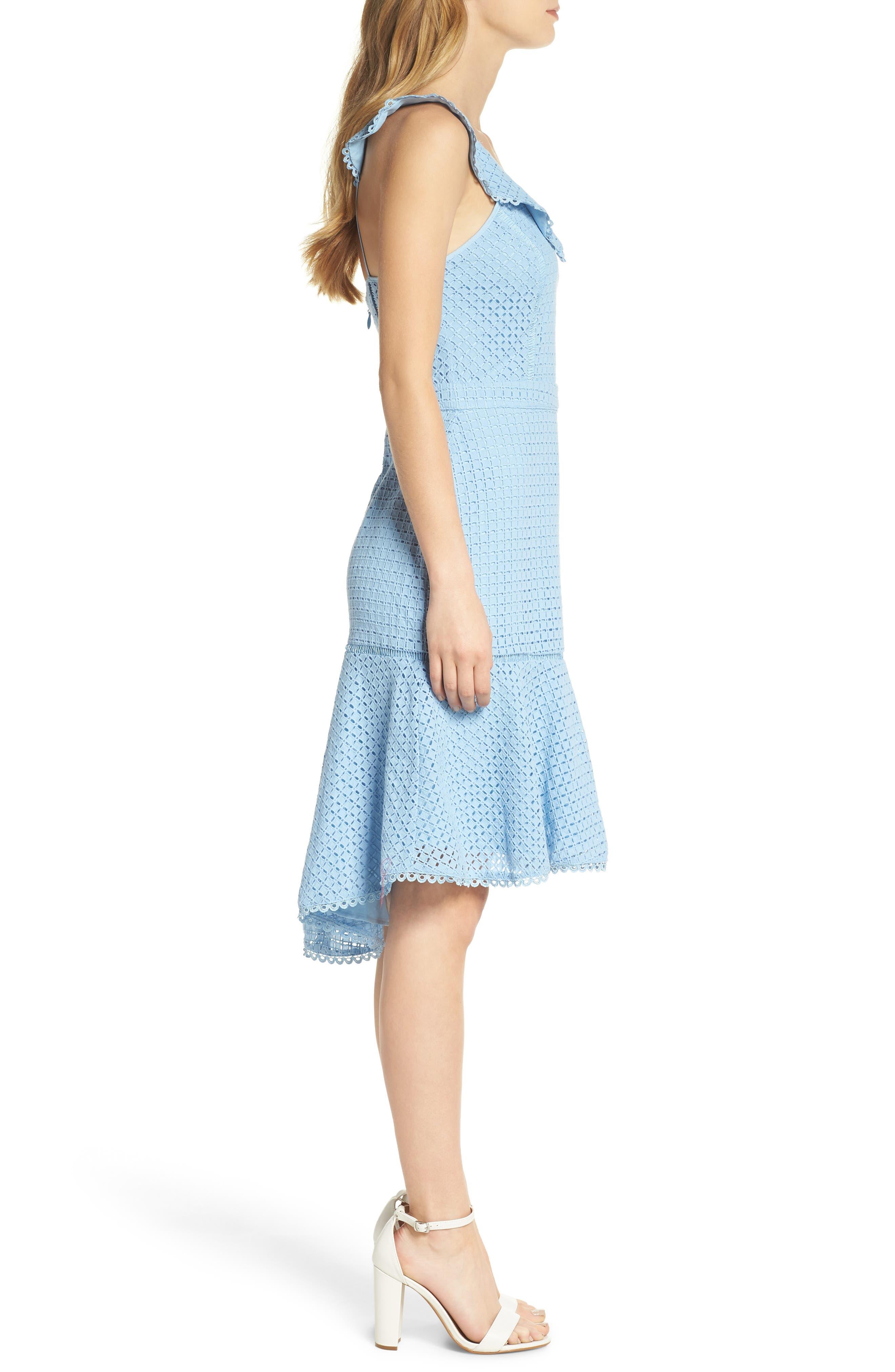 Sleeveless Eyelet Trumpet Dress,                             Alternate thumbnail 3, color,                             Blue Placid