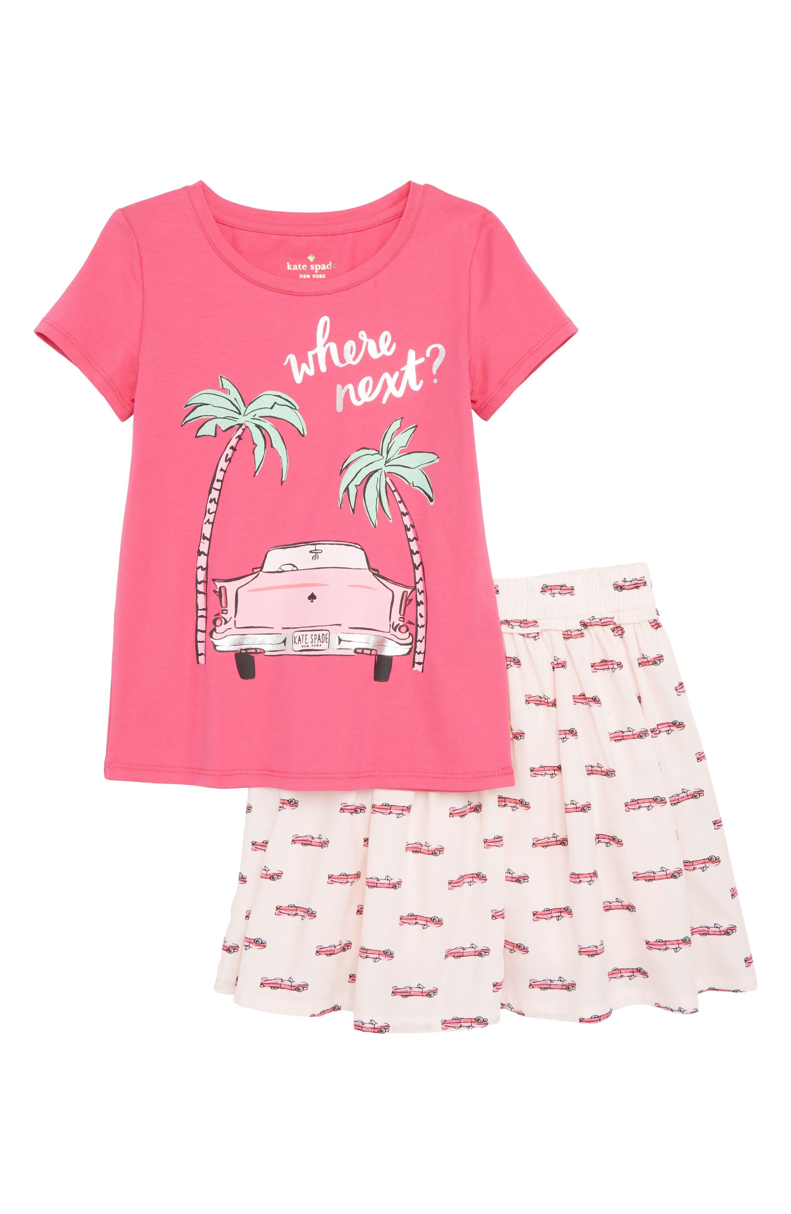 Alternate Image 1 Selected - kate spade new york where next top & skirt set (Toddler Girls & Little Girls)