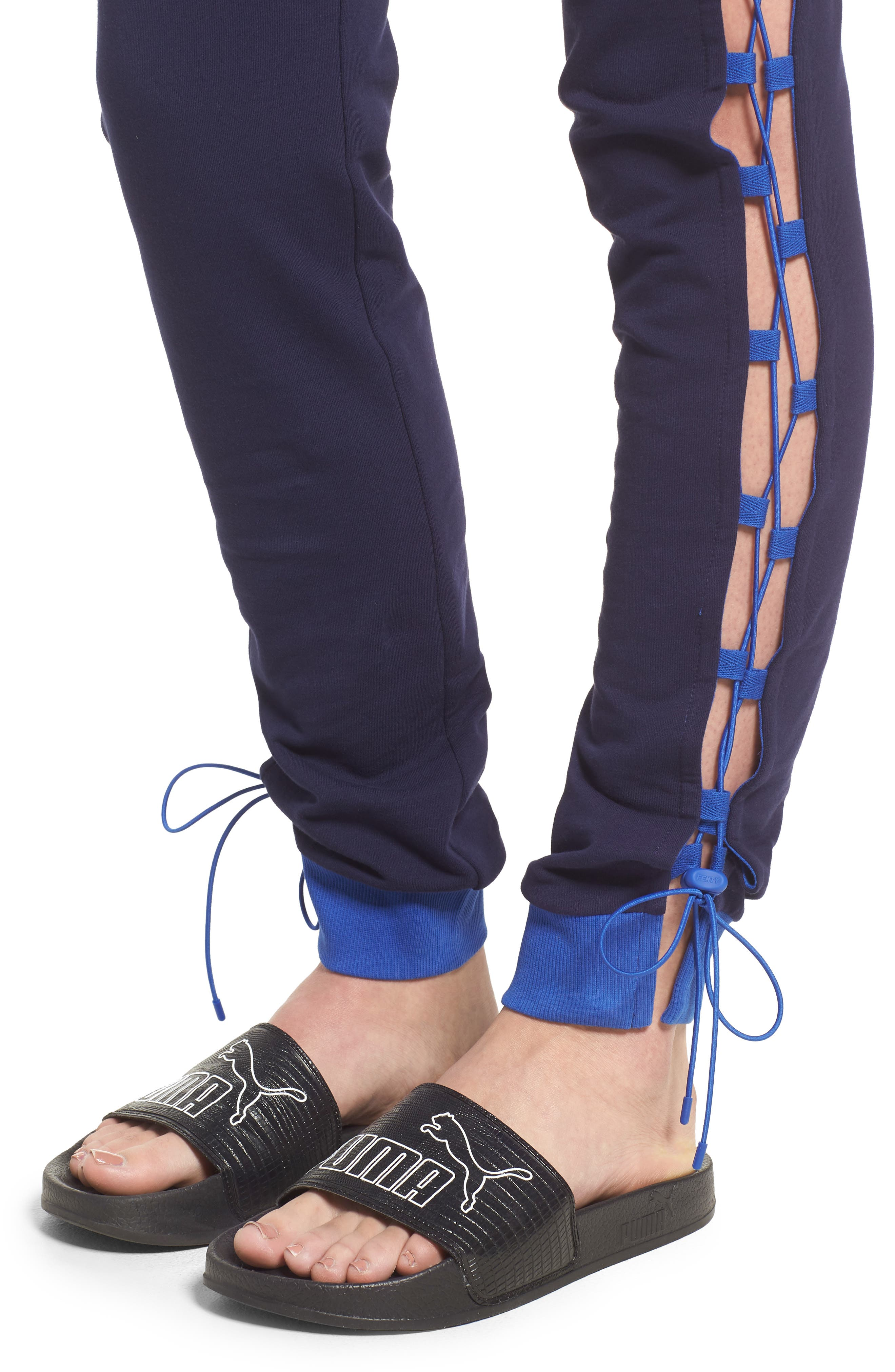 FENTY PUMA by Rihanna Lace-Up Sweatpants,                             Alternate thumbnail 4, color,                             Evening Blue