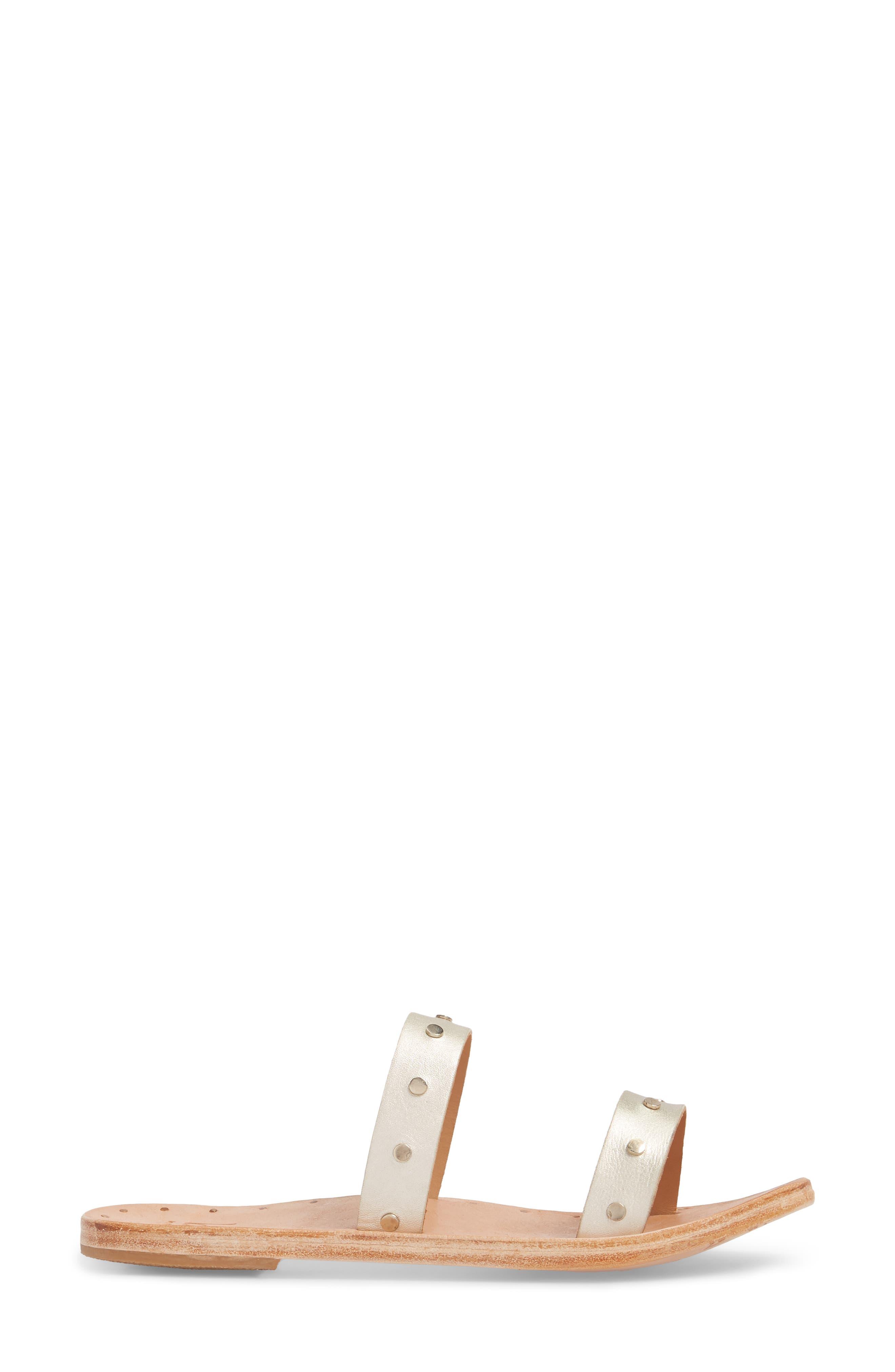 Woodpecker Studded Slide Sandal,                             Alternate thumbnail 3, color,                             Platinum Gold/ Nat