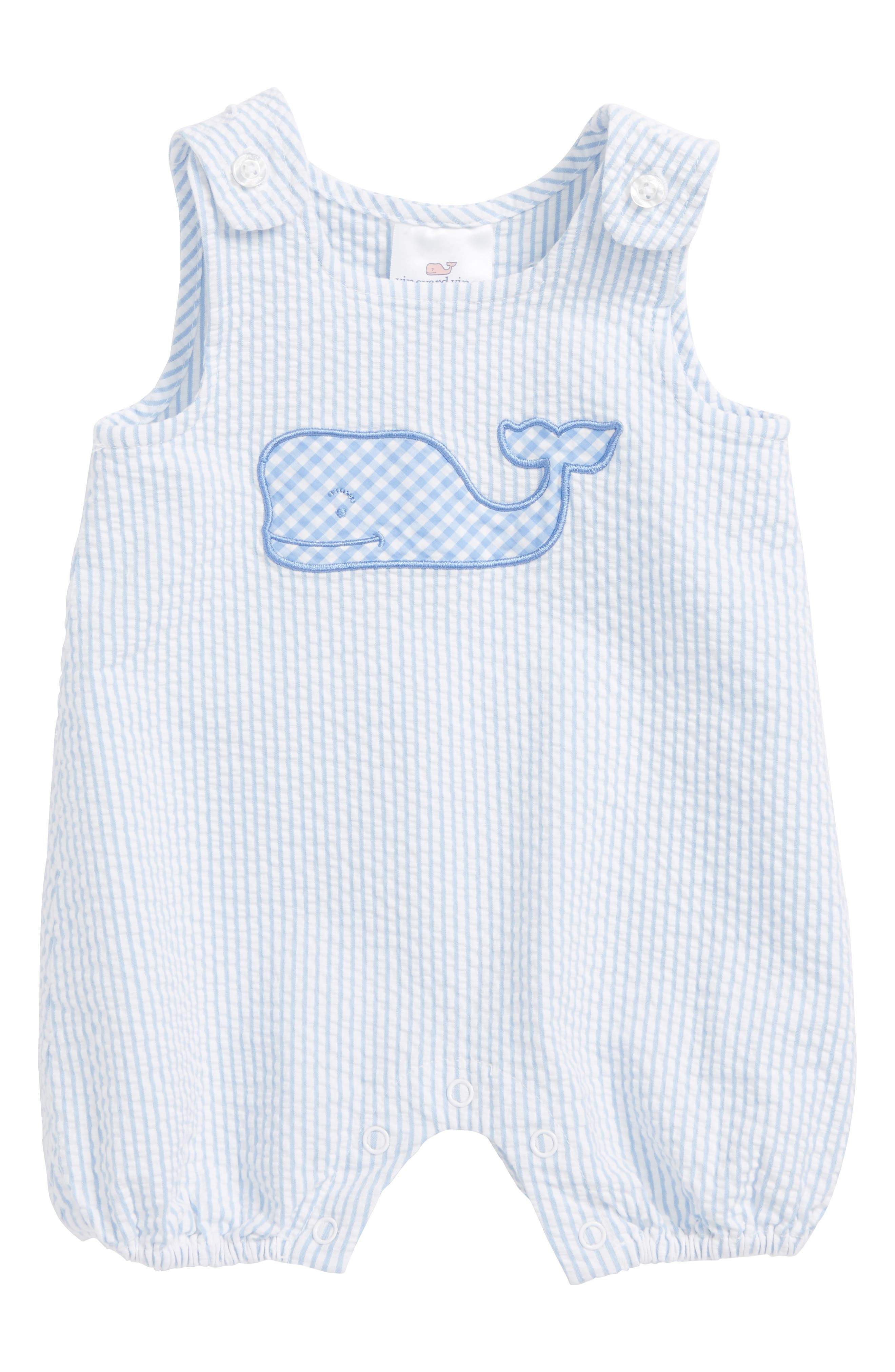 Alternate Image 1 Selected - vineyard vines Seersucker Jon Jon Romper (Baby Boys)
