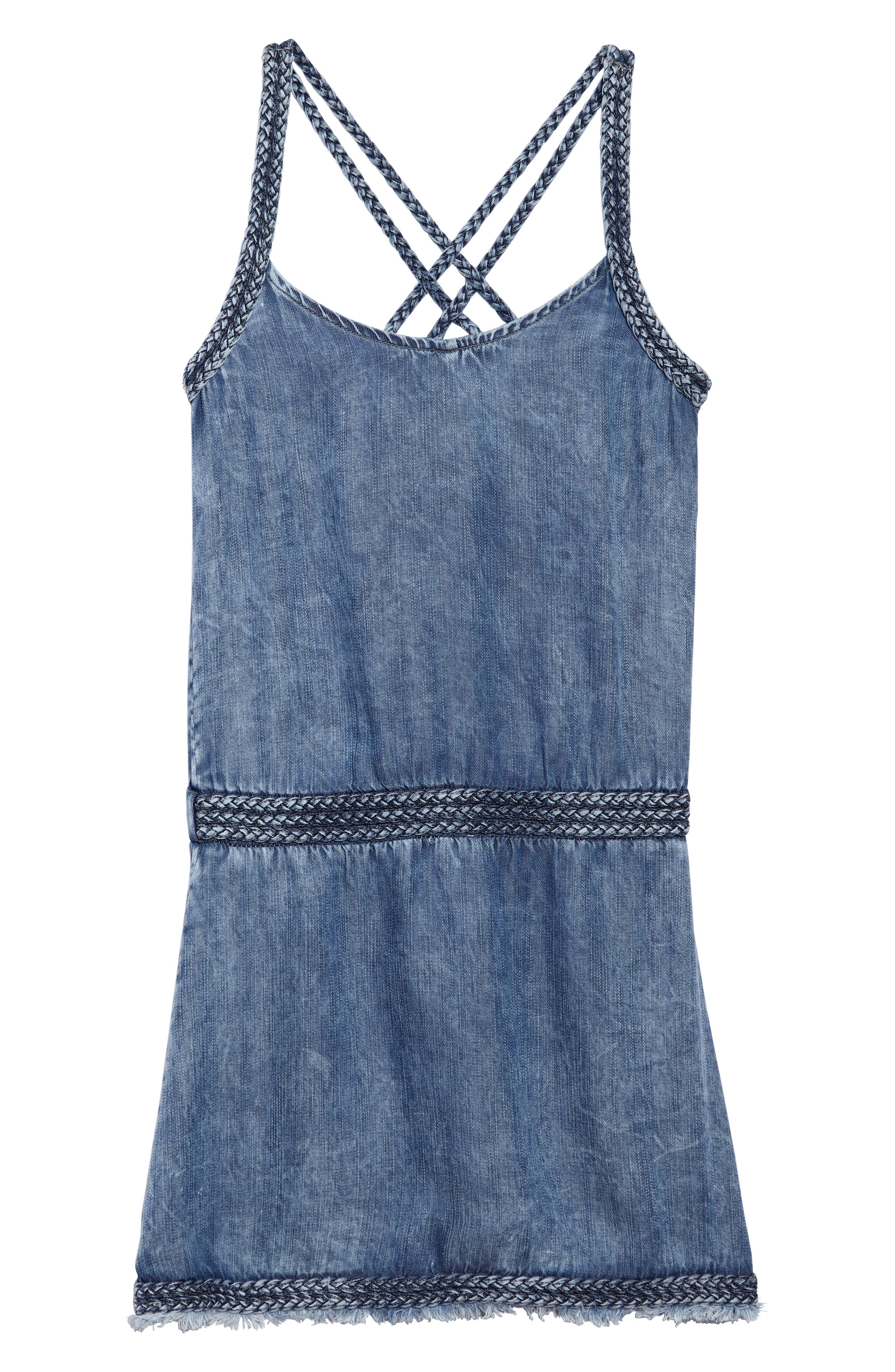 Braided Chambray Dress,                         Main,                         color, Indigo