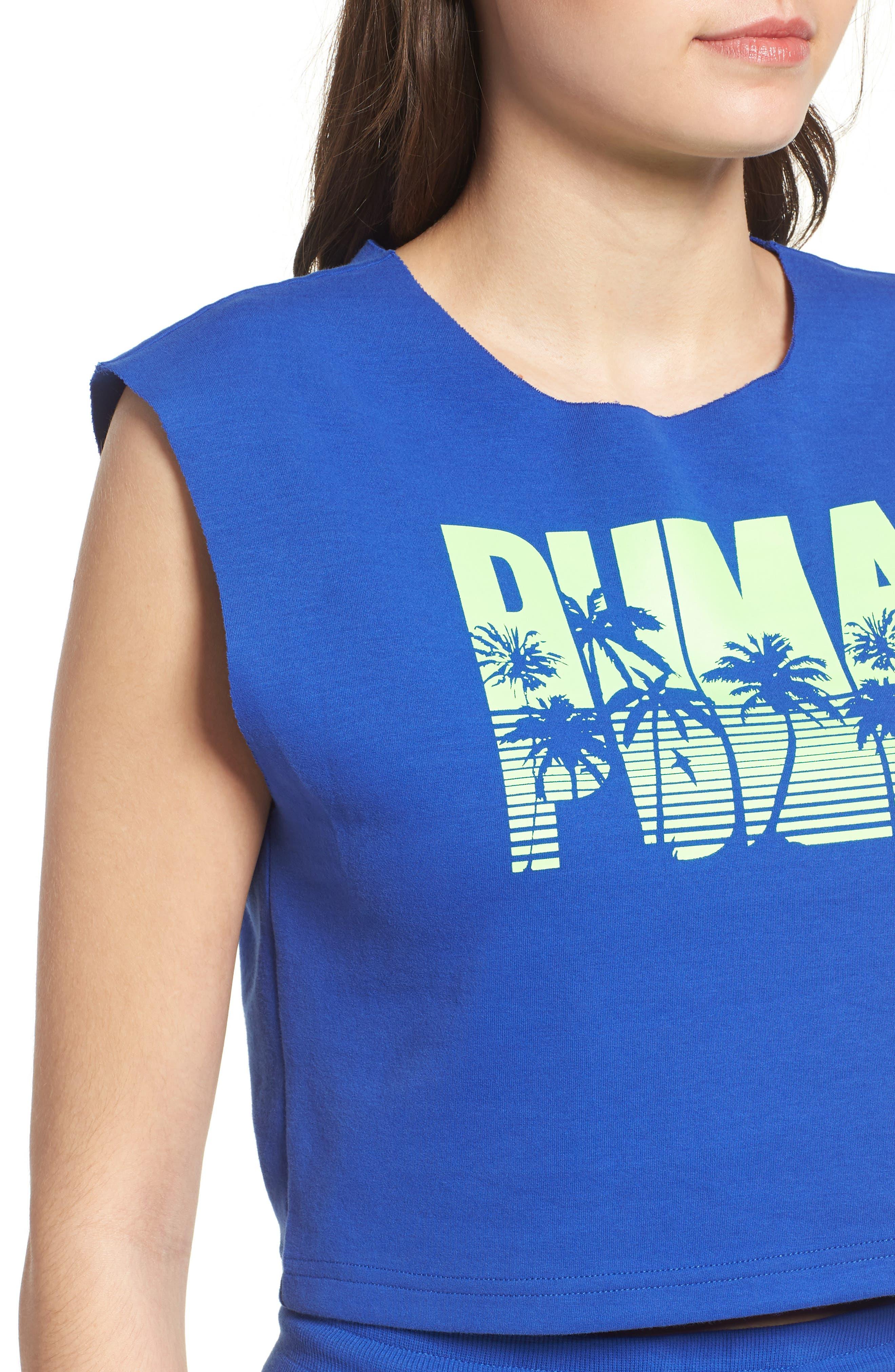 FENTY PUMA by Rihanna Logo Crop Top,                             Alternate thumbnail 4, color,                             Dazzling Blue