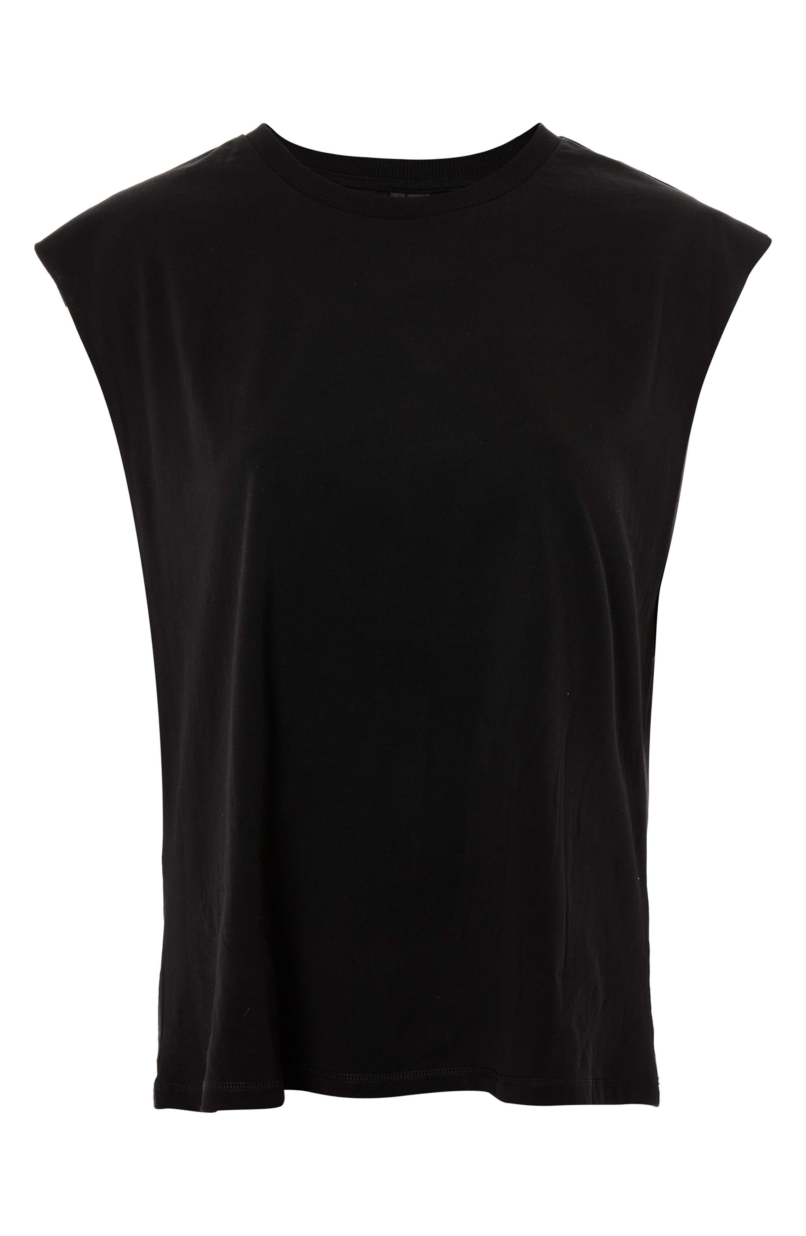 Raw Sleeve Top,                         Main,                         color, Black