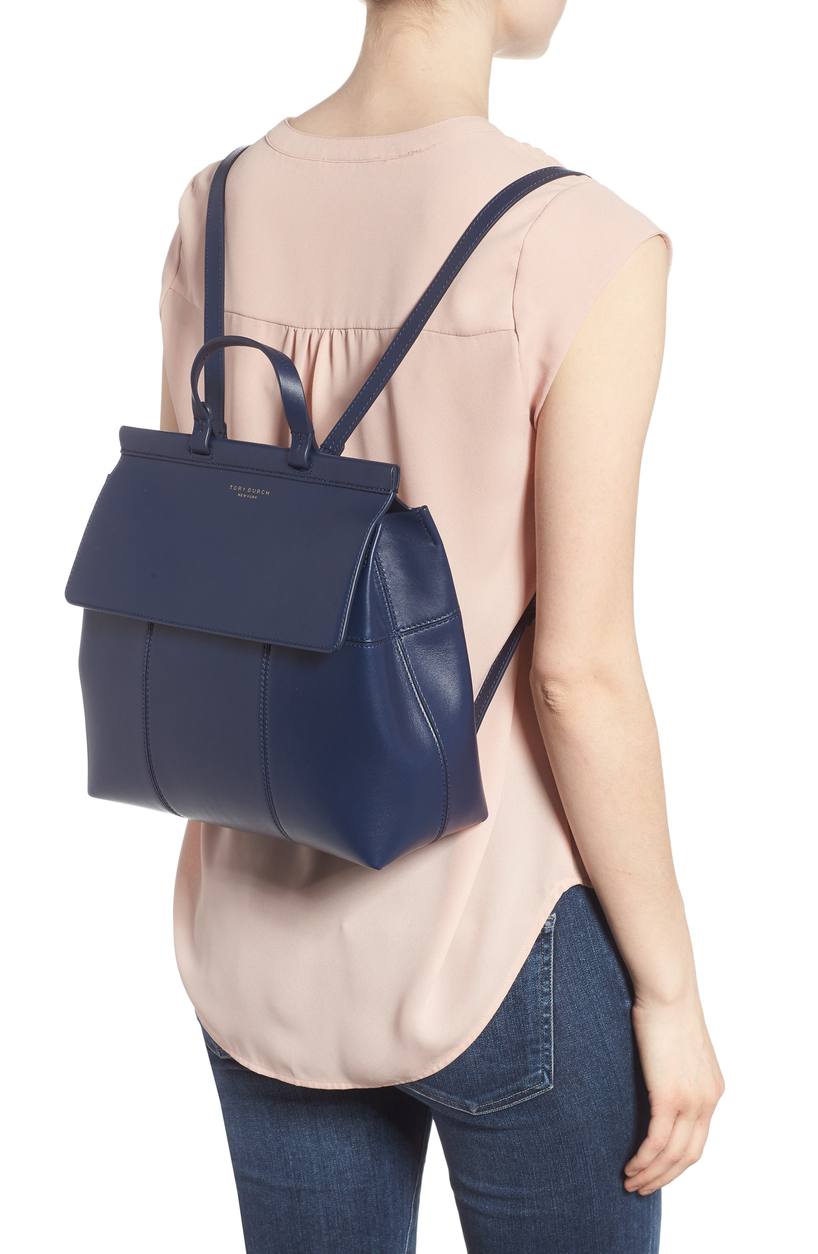 Block T Leather Backpack,                             Alternate thumbnail 2, color,                             Royal Navy