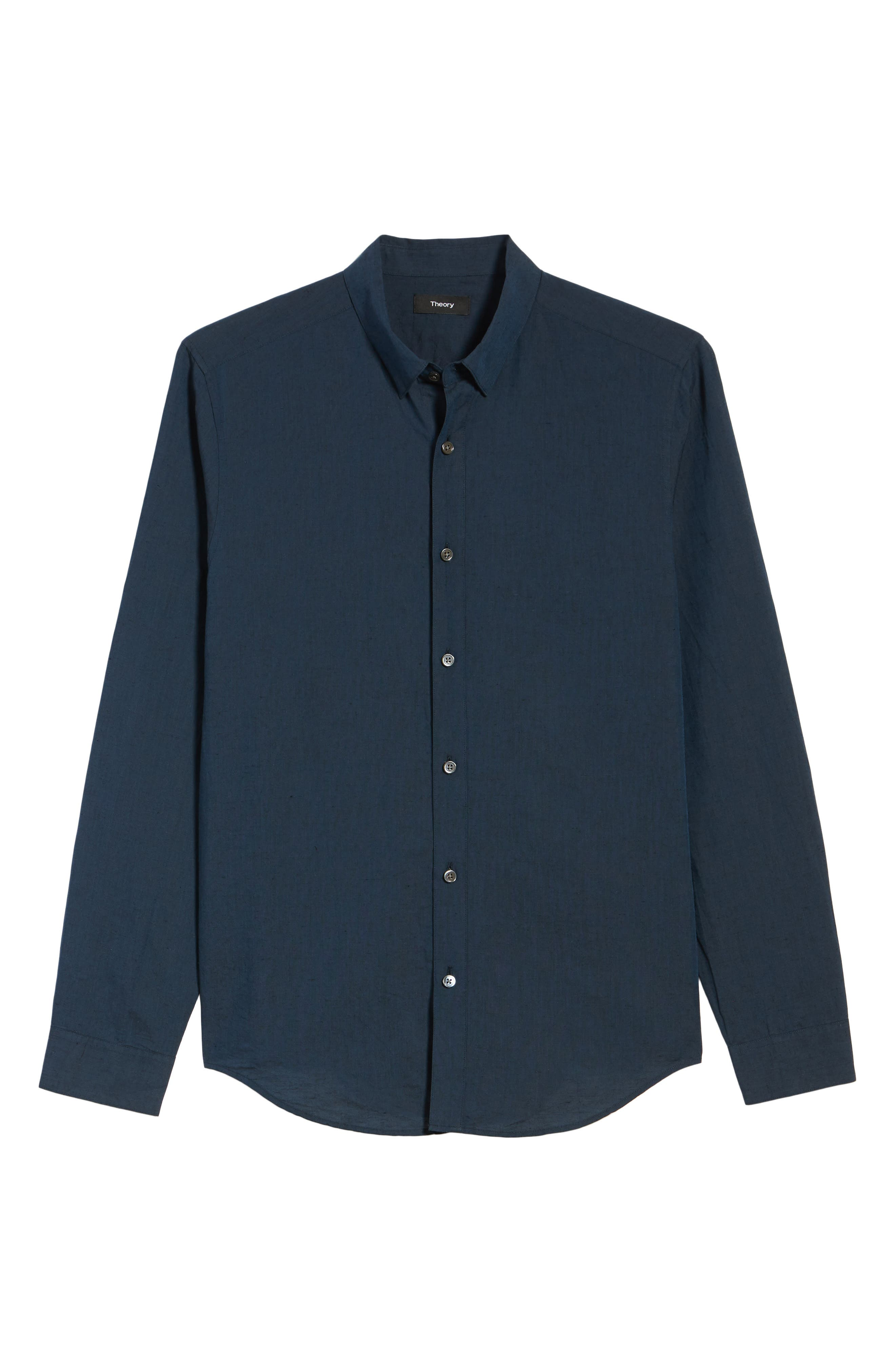 Edward Regular Fit Linen & Cotton Sport Shirt,                             Alternate thumbnail 6, color,                             Finch