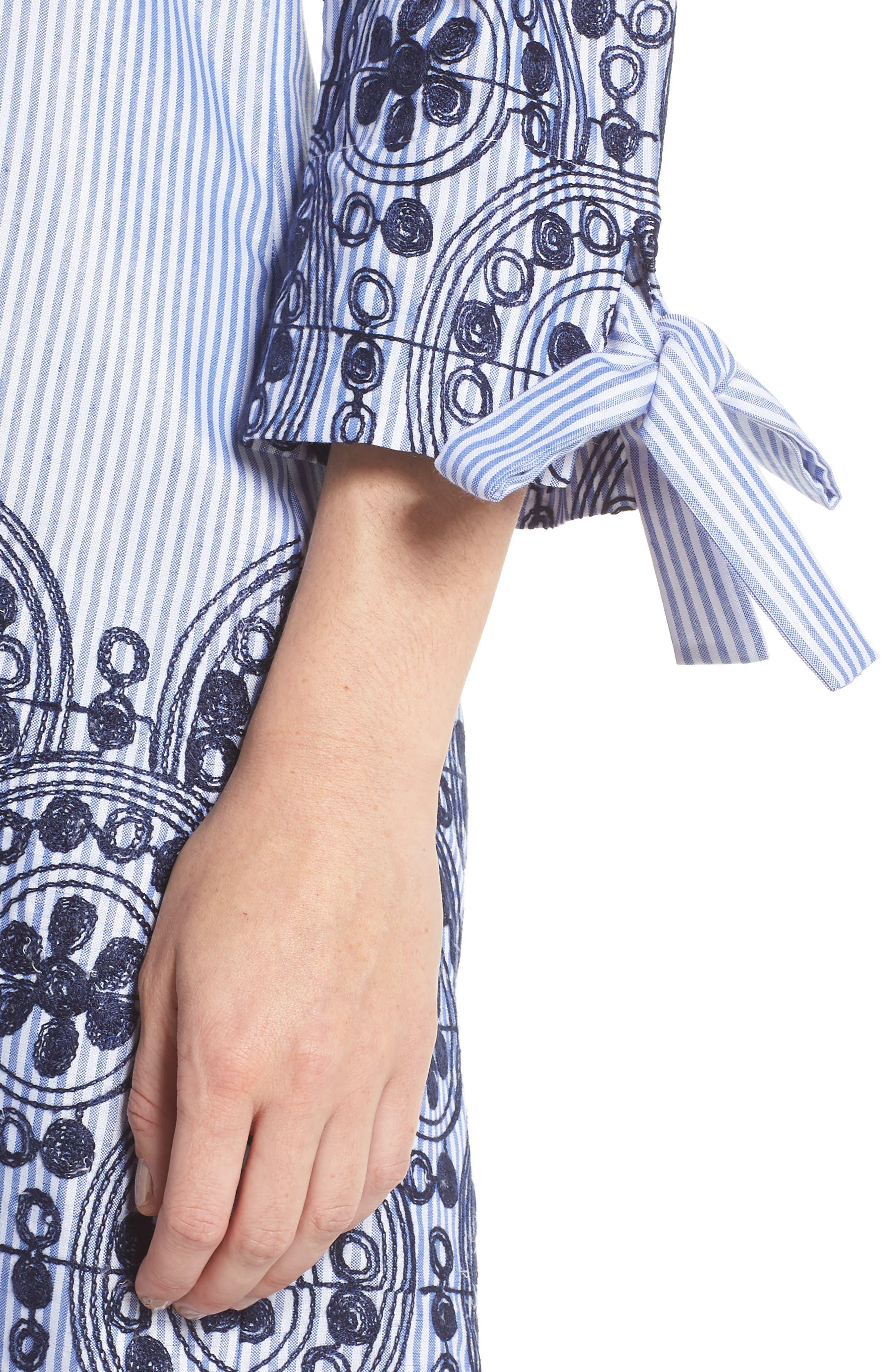 Off the Shoulder Stripe Embroidered Shift Dress,                             Alternate thumbnail 4, color,                             Navy Multi