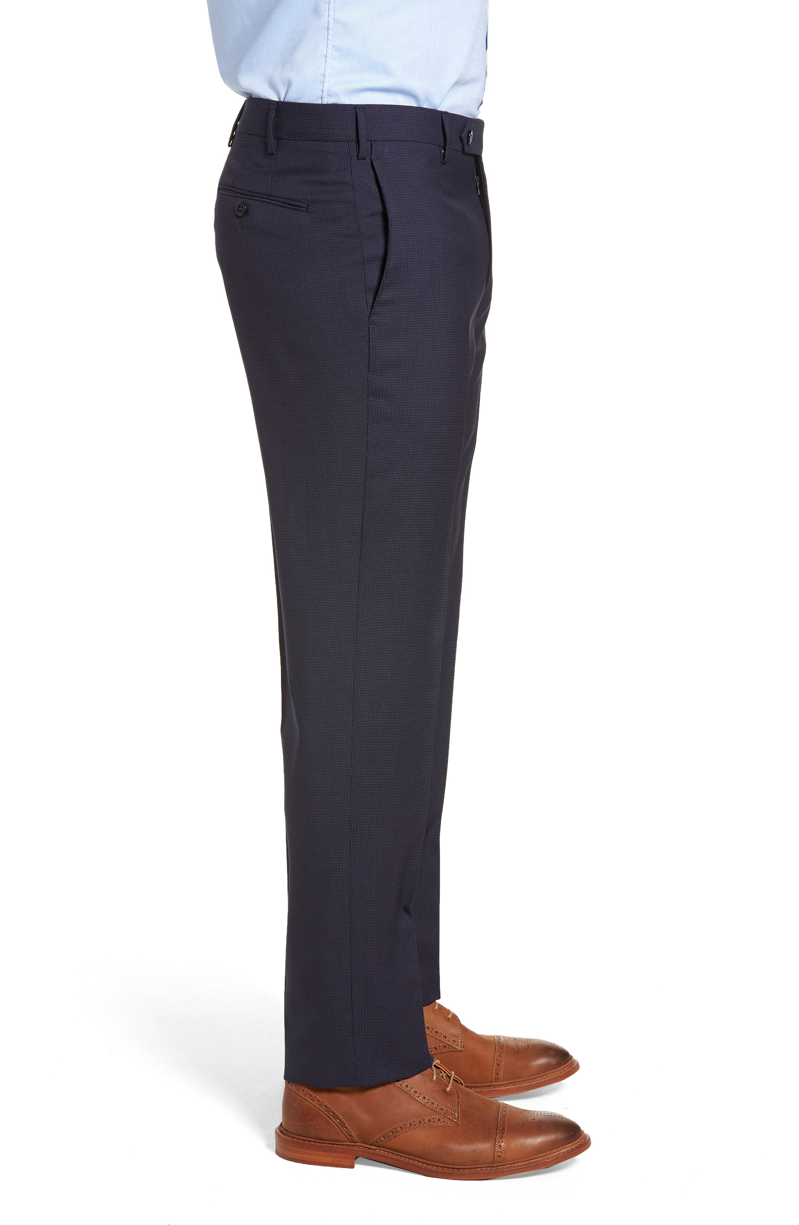 Parker Flat Front Pindot Wool Trousers,                             Alternate thumbnail 3, color,                             Navy