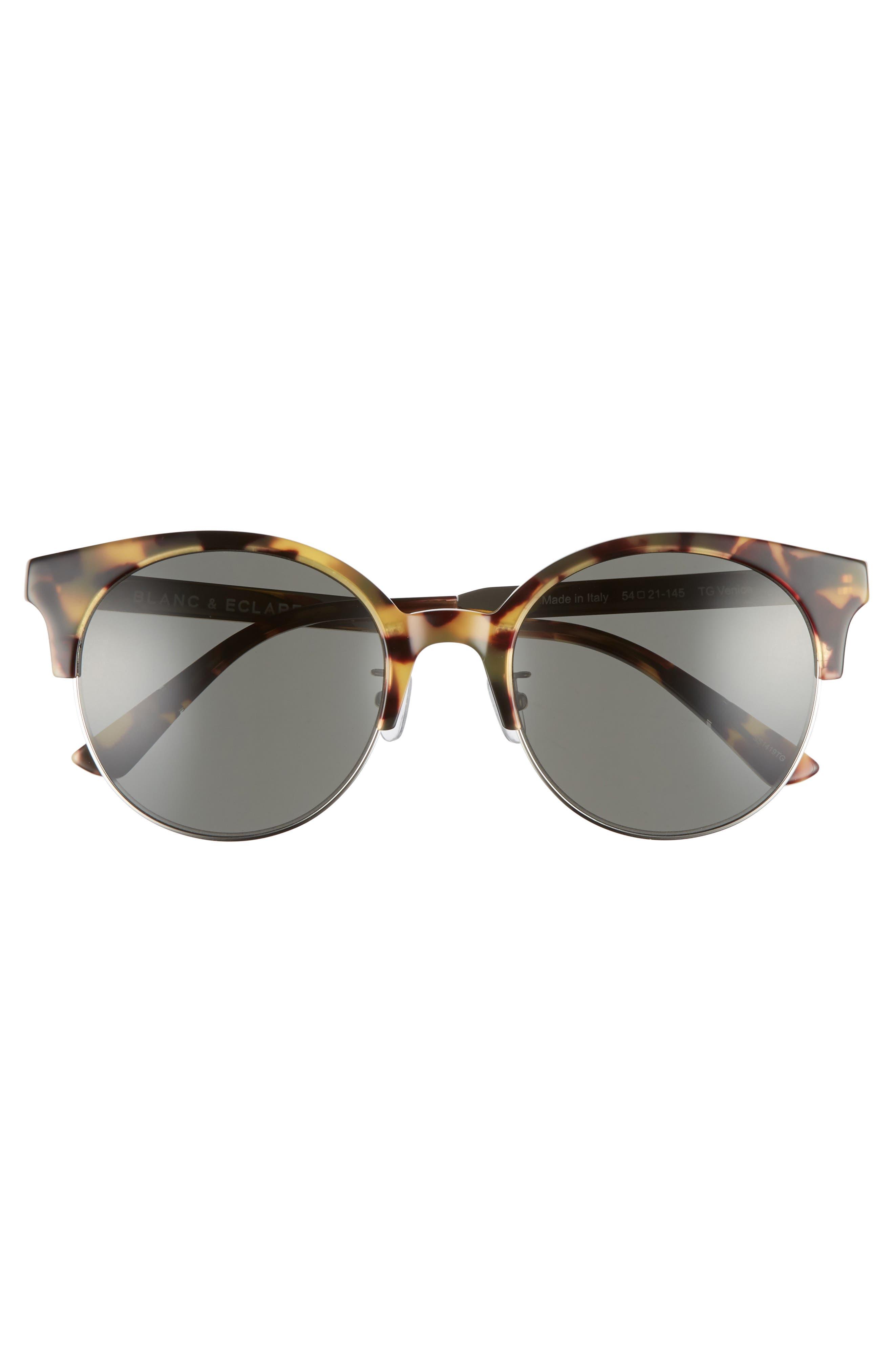 BLANC & ECLARE Venice Round Sunglasses,                             Alternate thumbnail 3, color,                             Tortoise/ Grey