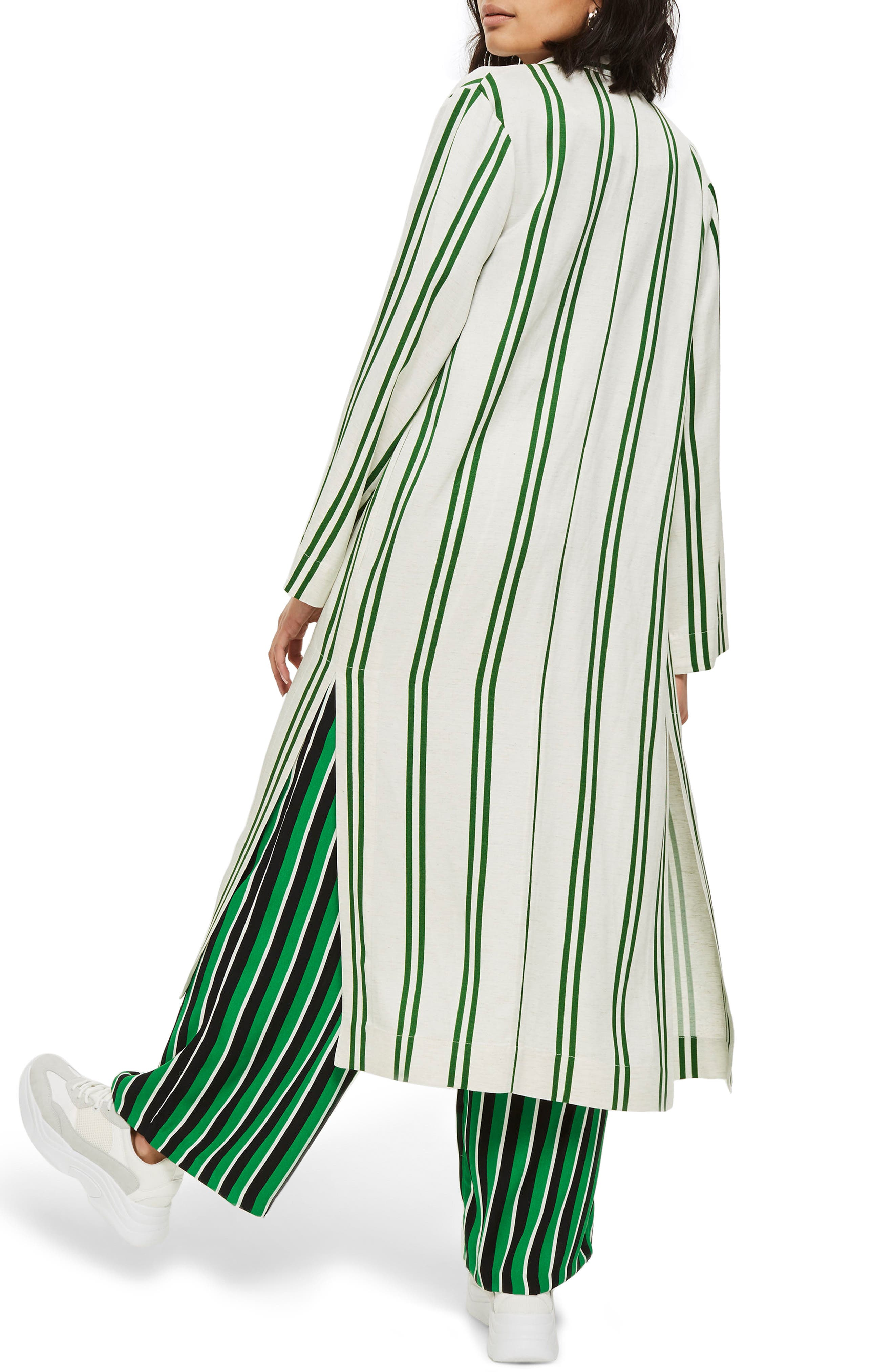 Slub Stripe Duster Coat,                             Alternate thumbnail 2, color,                             Green Multi