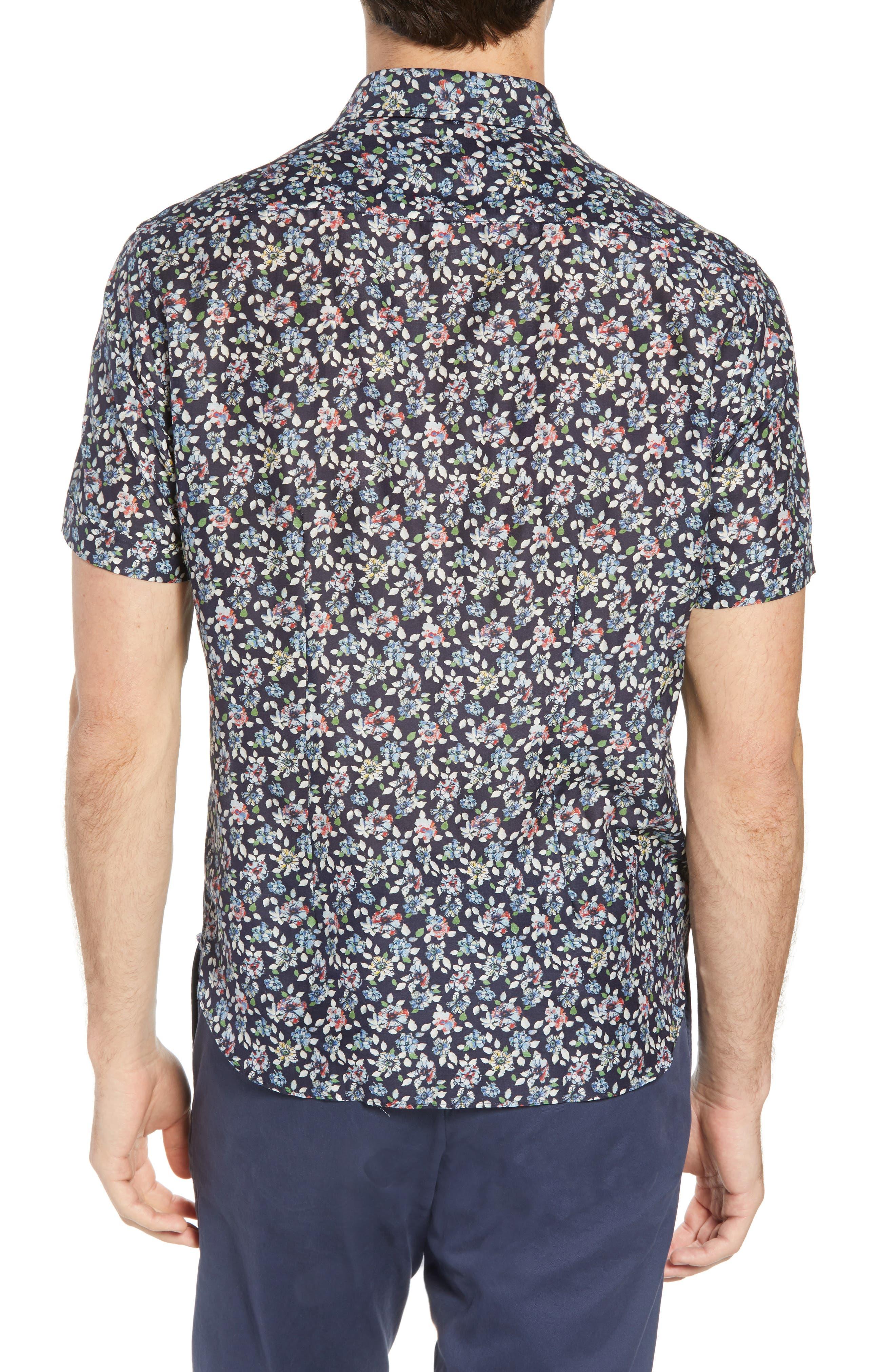 Trim Fit Print Cotton & Silk Sport Shirt,                             Alternate thumbnail 3, color,                             Navy