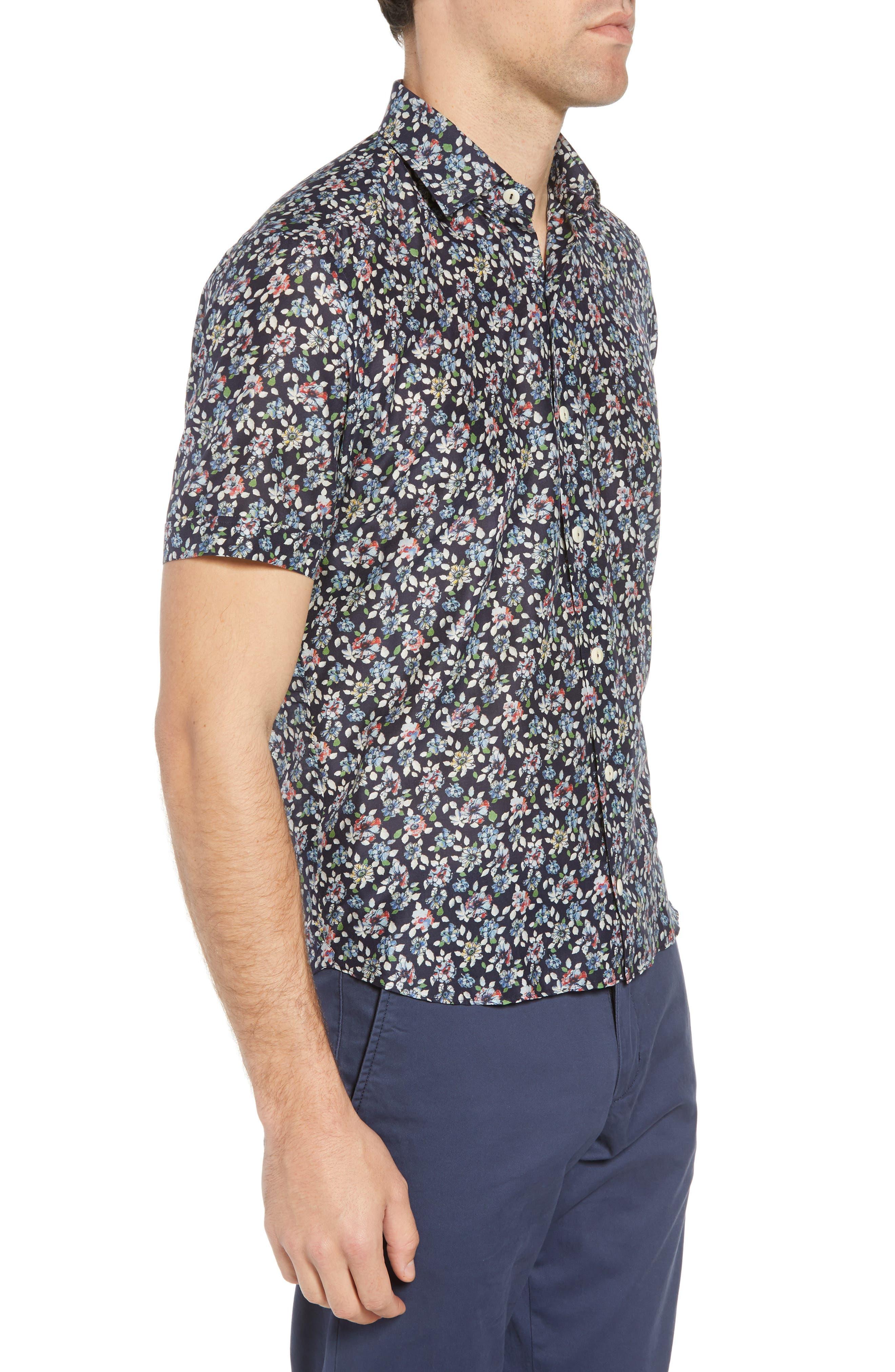 Trim Fit Print Cotton & Silk Sport Shirt,                             Alternate thumbnail 4, color,                             Navy