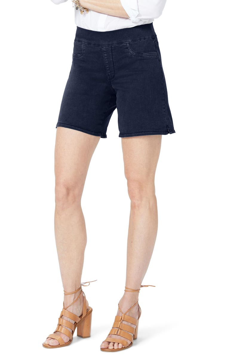 Pull-On Stretch Cotton Blend Denim Shorts