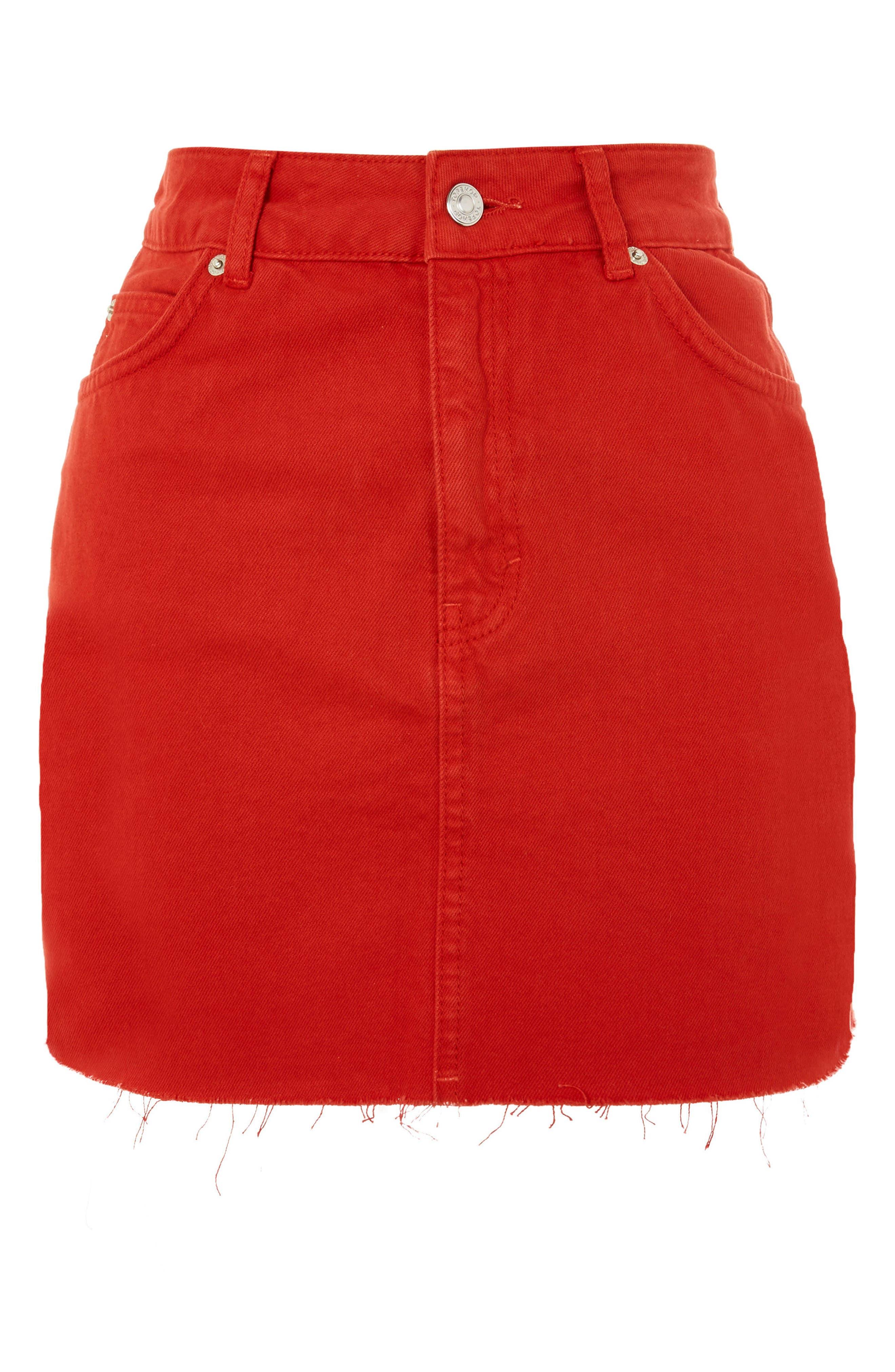 Fray Hem Miniskirt,                             Alternate thumbnail 4, color,                             Red