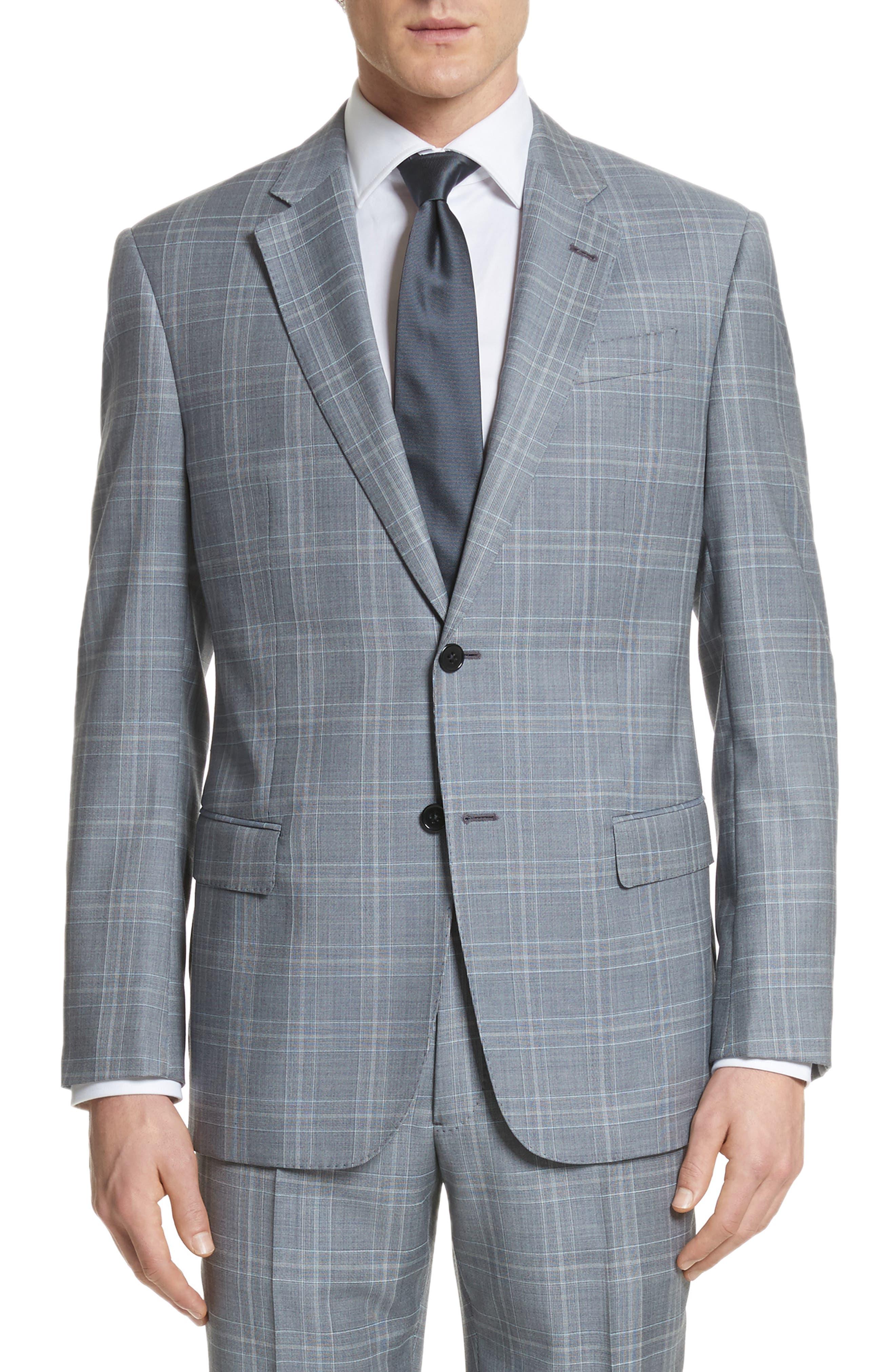 G-Line Trim Fit Plaid Wool Suit,                             Alternate thumbnail 5, color,                             Grey