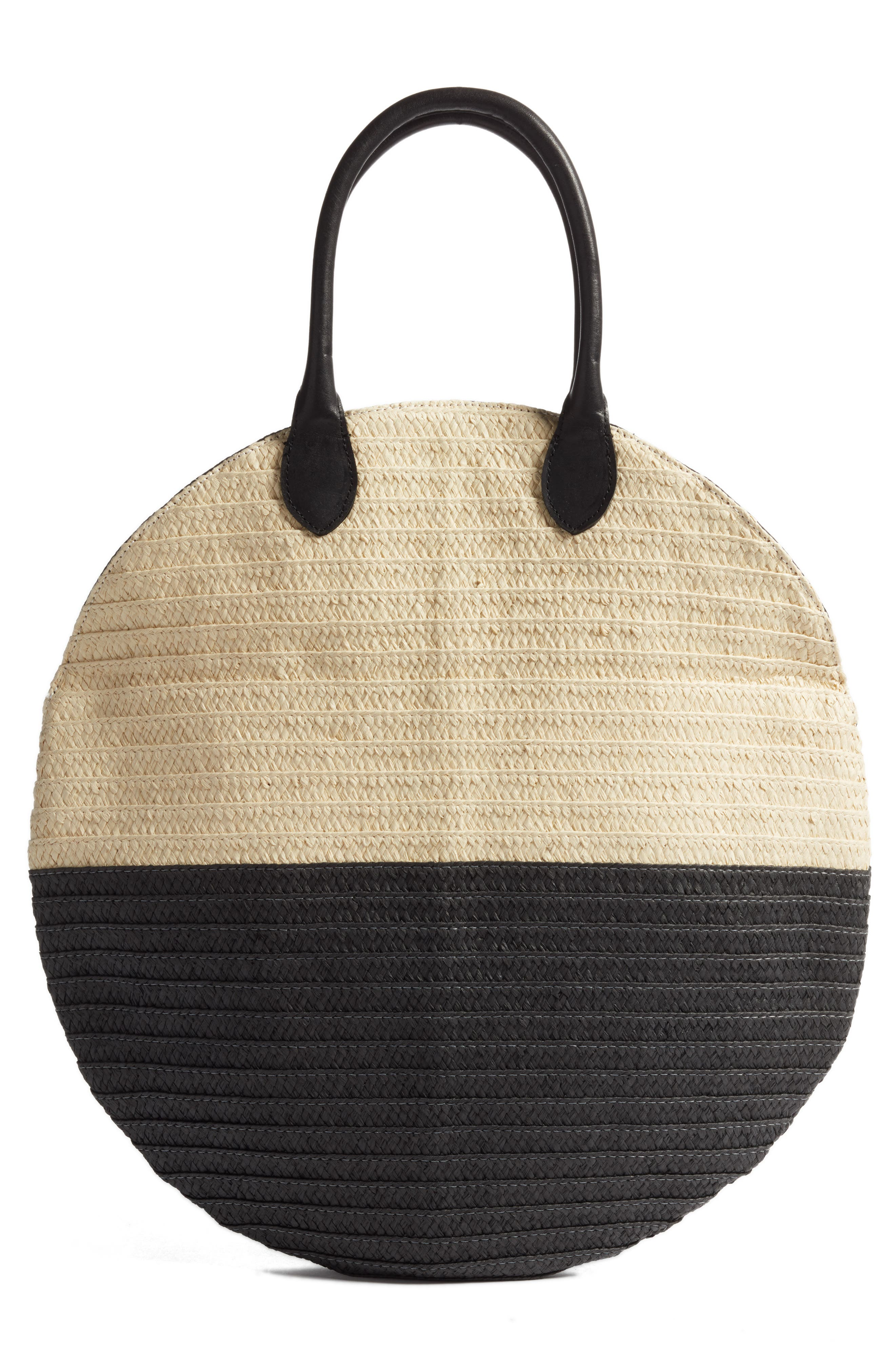 Amalie Straw Circle Tote,                             Alternate thumbnail 2, color,                             Natural/ Black