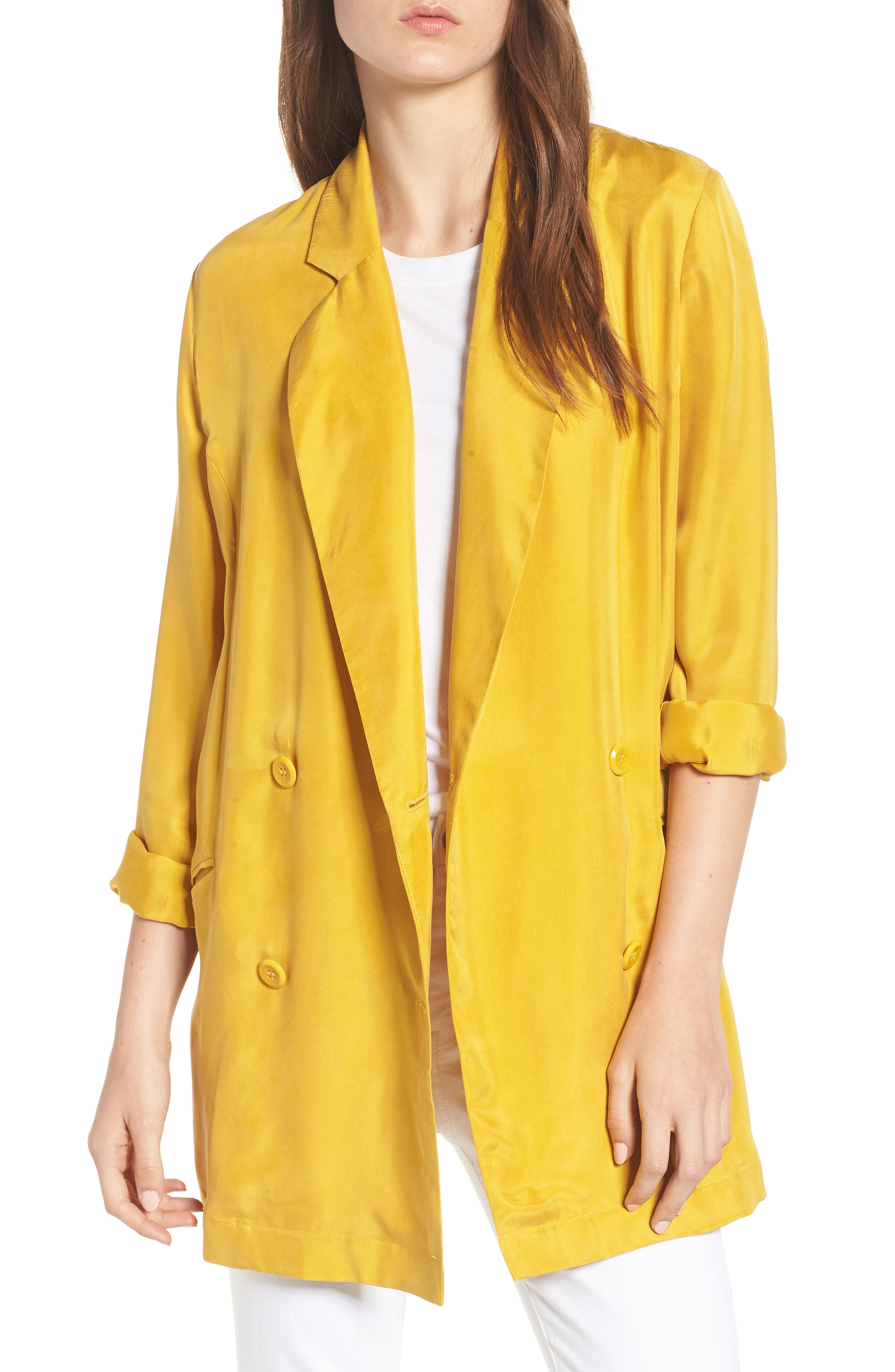 Double Breasted Longline Blazer,                             Main thumbnail 1, color,                             Yellow Nugget