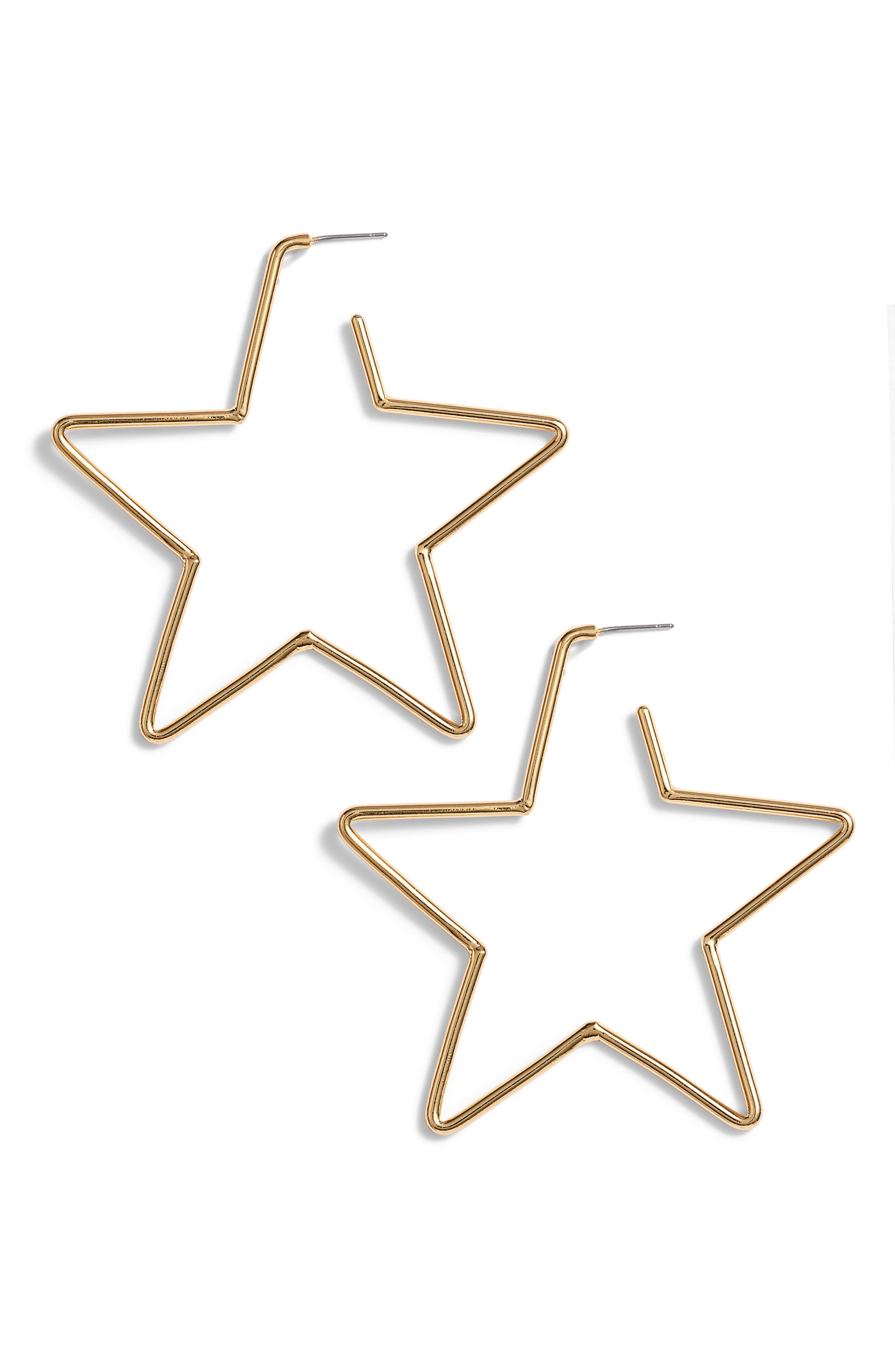 scrunched scallops star large hoop earrings,                         Main,                         color, Gold