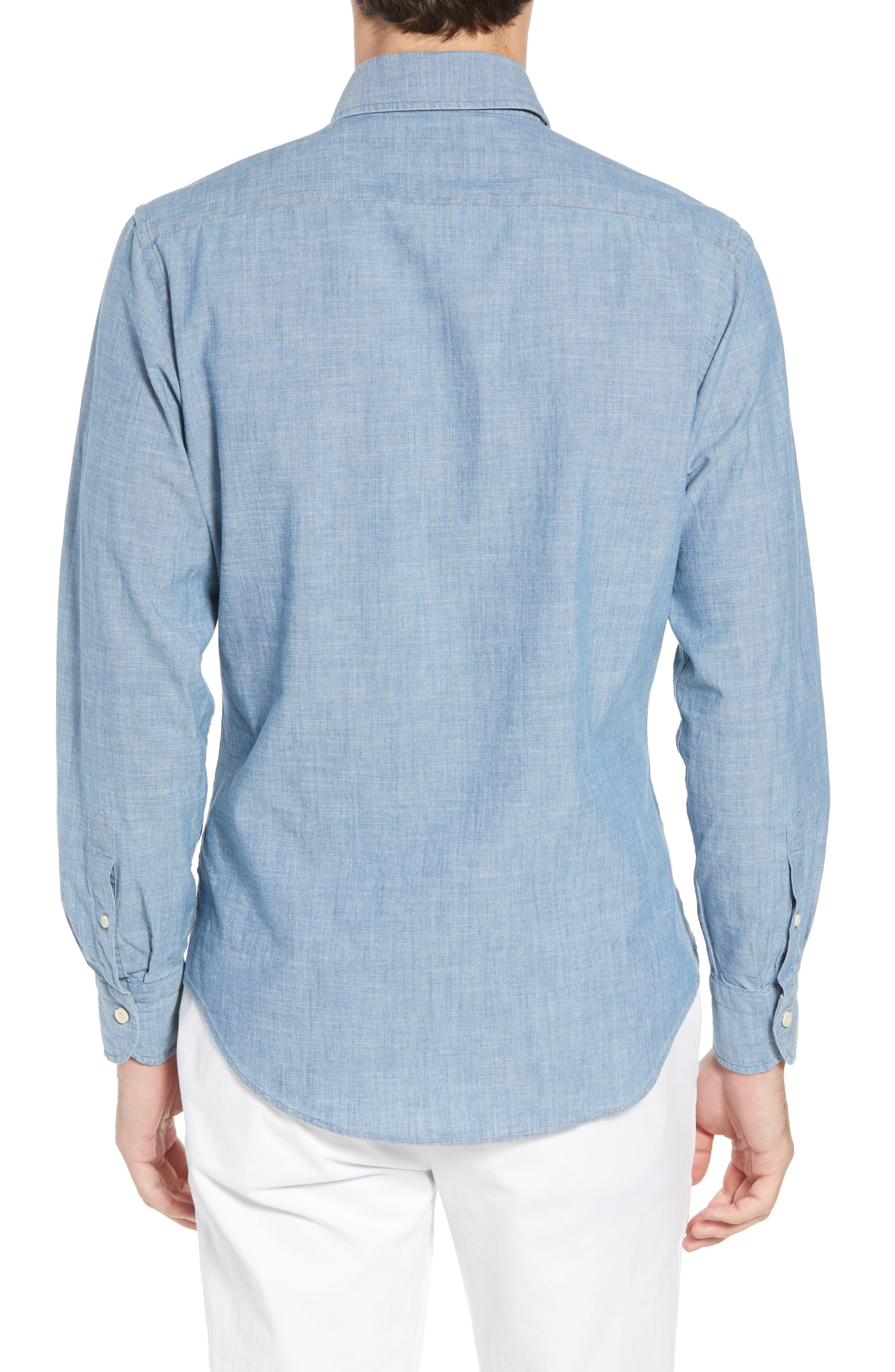 Ancroft Slim Fit Chambray Sport Shirt,                             Alternate thumbnail 2, color,                             Blue