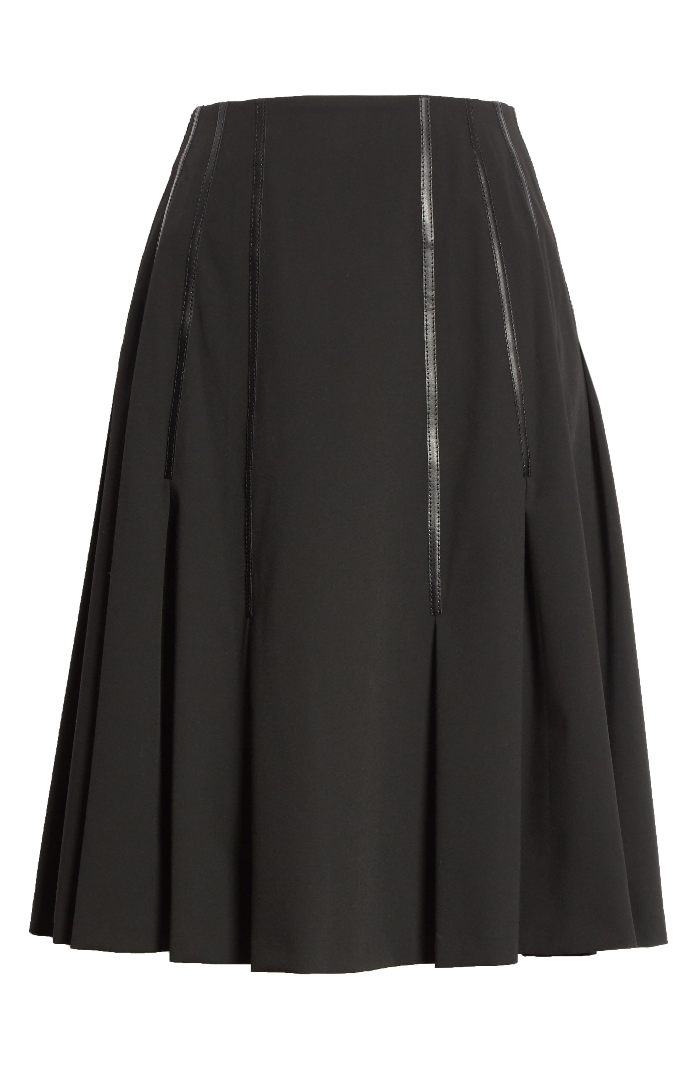 Pleated Faux Leather Trim Skirt,                             Alternate thumbnail 6, color,                             Black