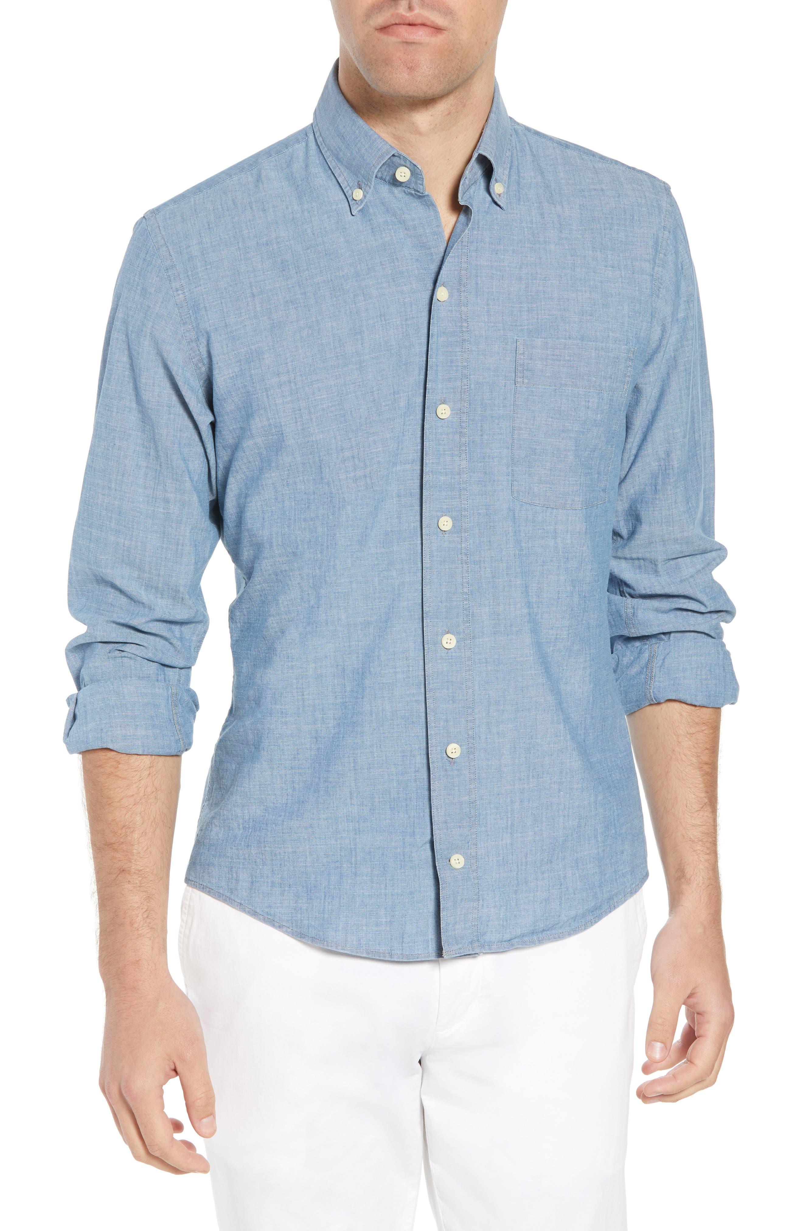 Ancroft Slim Fit Chambray Sport Shirt,                             Main thumbnail 1, color,                             Blue