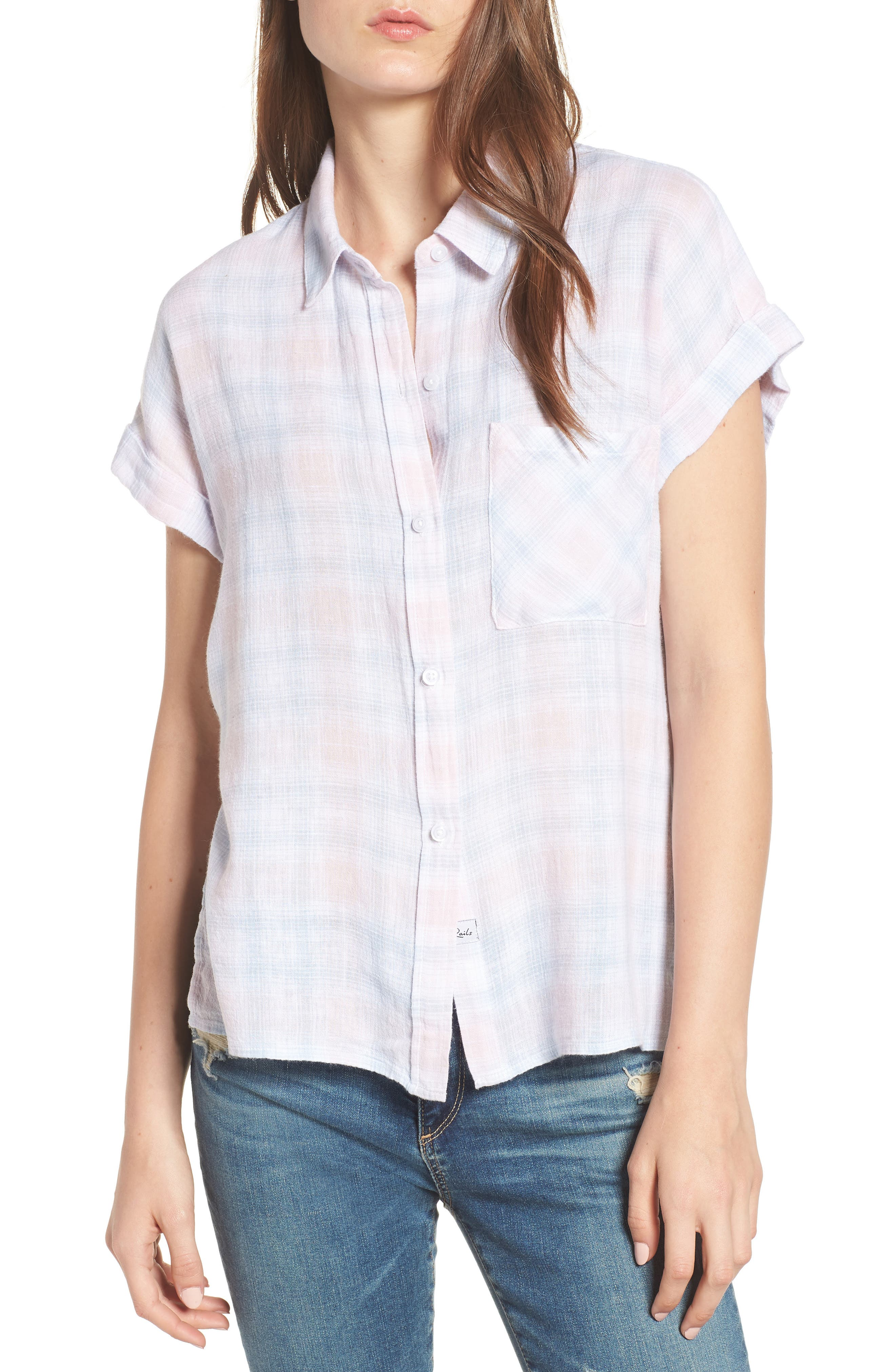 Whitney Shirt,                             Main thumbnail 1, color,                             White Blush Sky