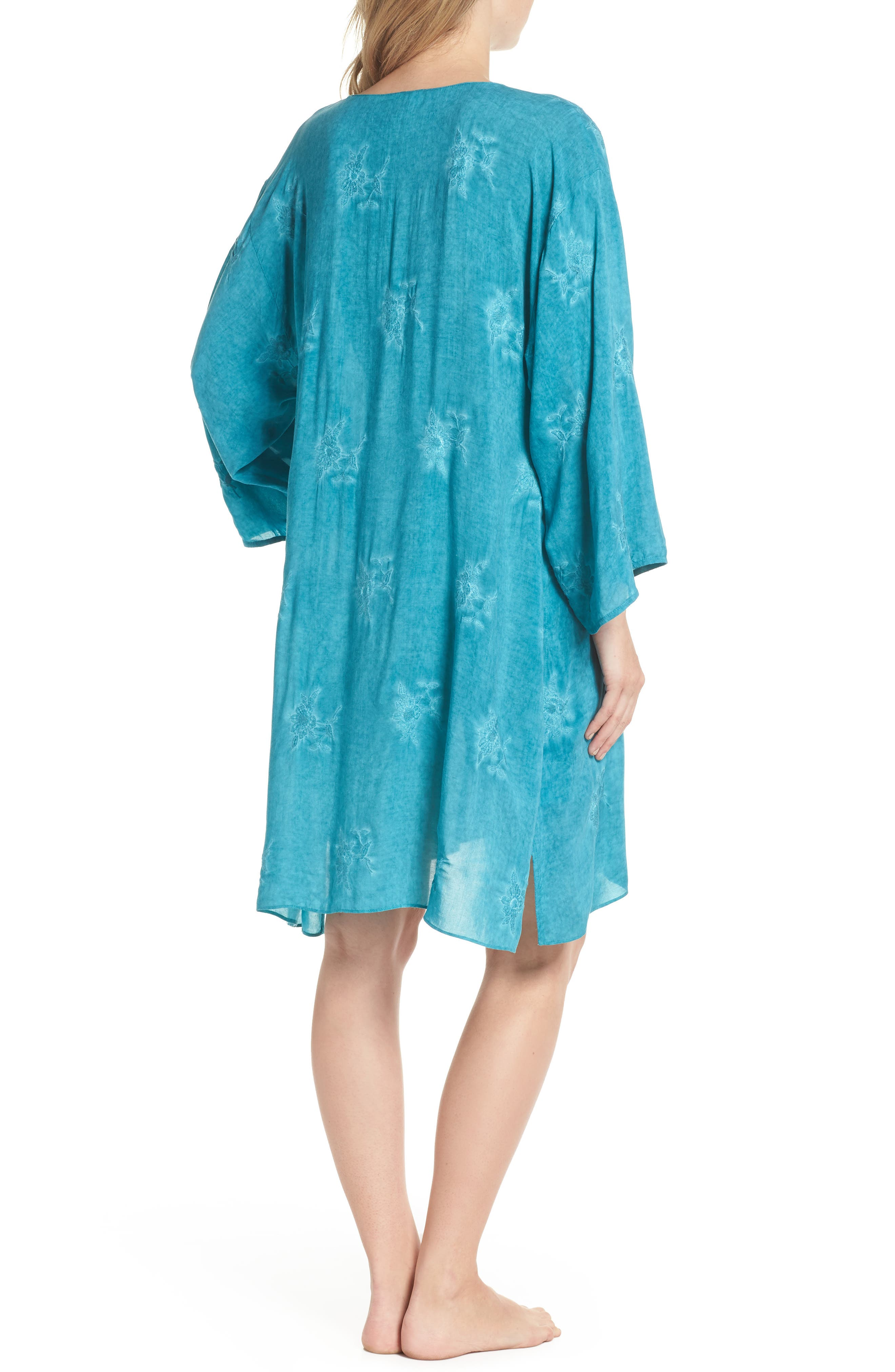 Jaipur Embroidered Voile Caftan,                             Alternate thumbnail 2, color,                             Turquoise