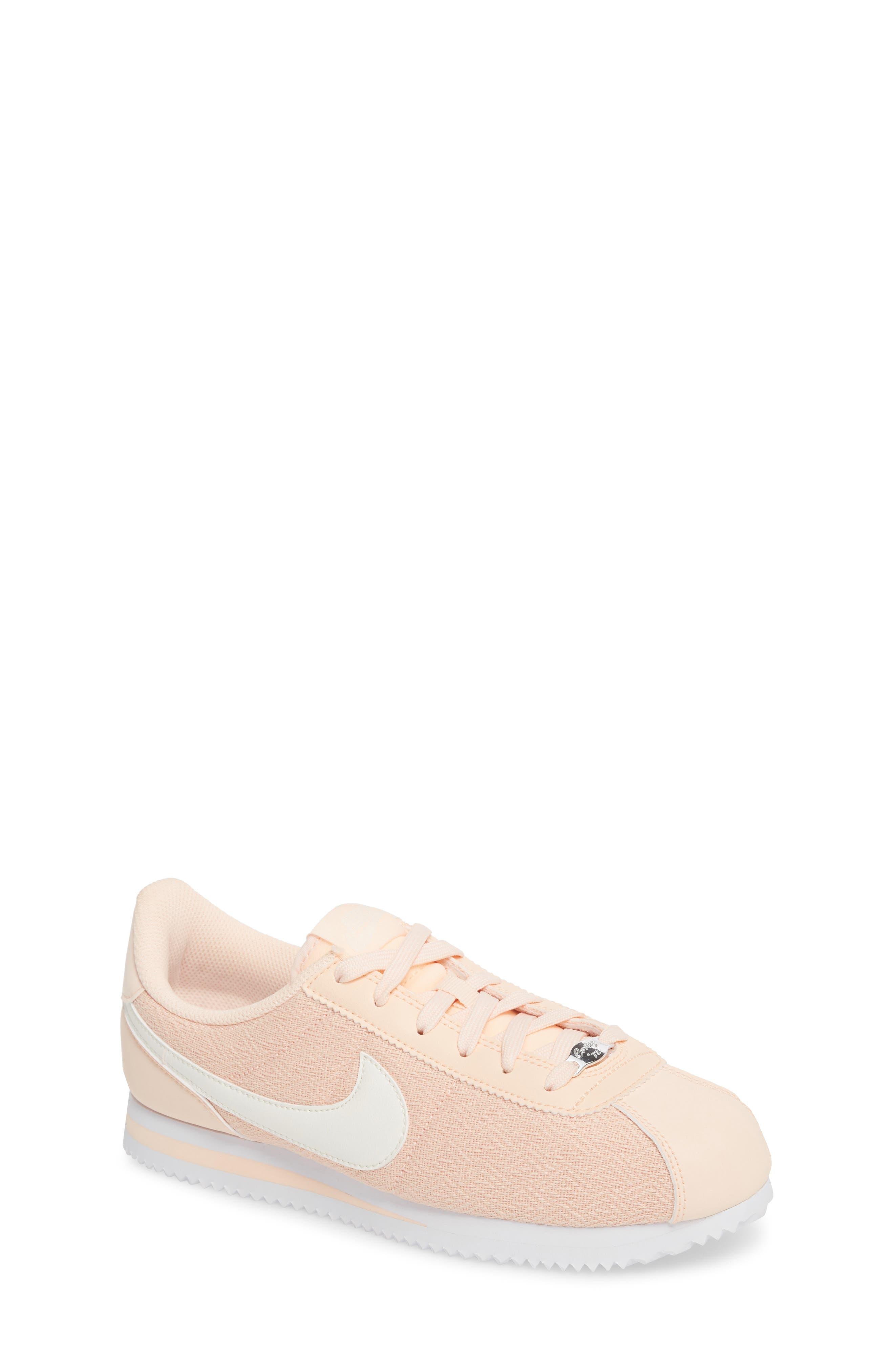 Cortez Basic TXT SE Sneaker,                         Main,                         color, Crimson Tint/ Sail/ White