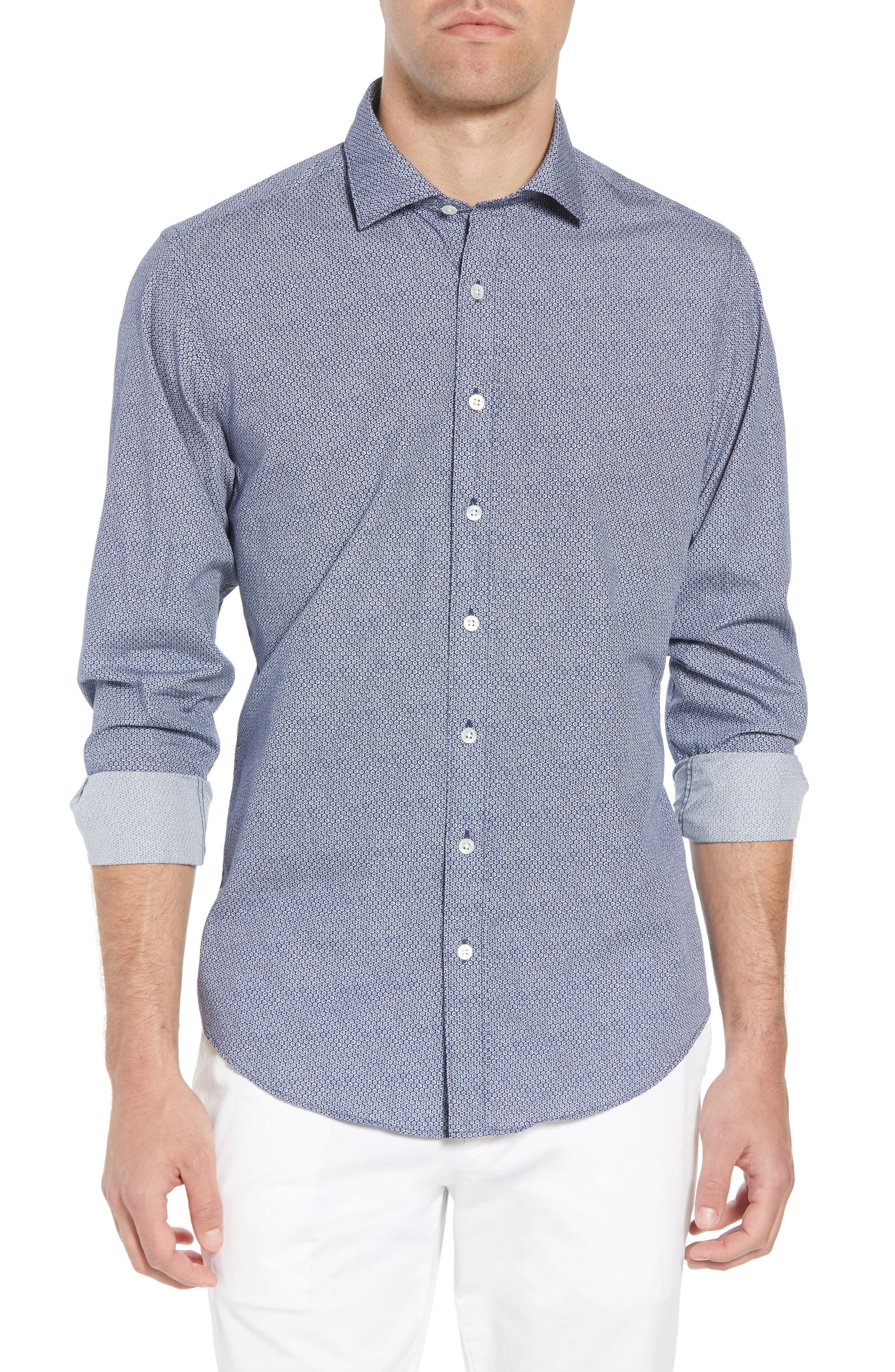 Beacon Point Regular Fit Sport Shirt,                             Main thumbnail 1, color,                             Navy