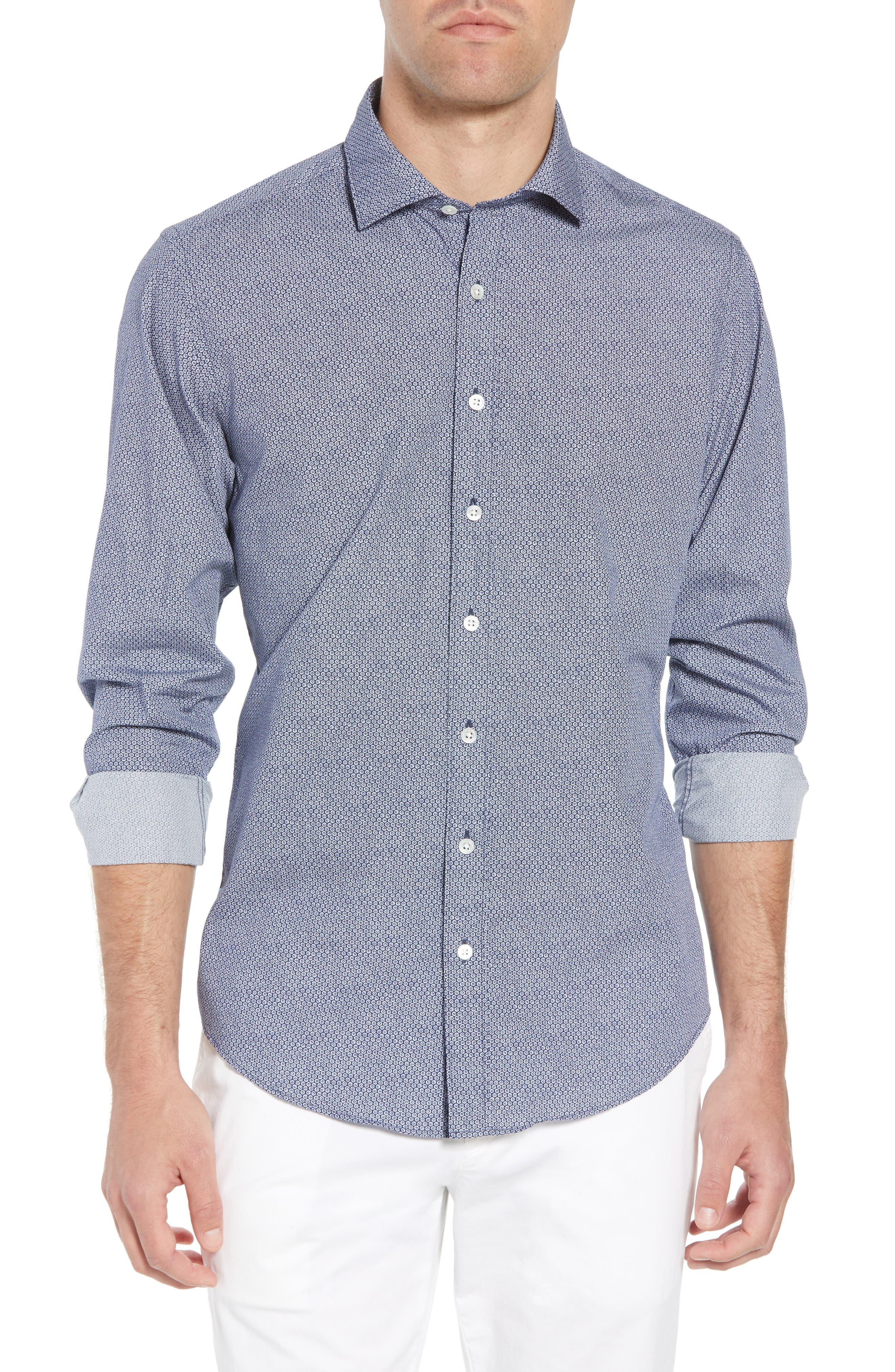 Beacon Point Regular Fit Sport Shirt,                         Main,                         color, Navy