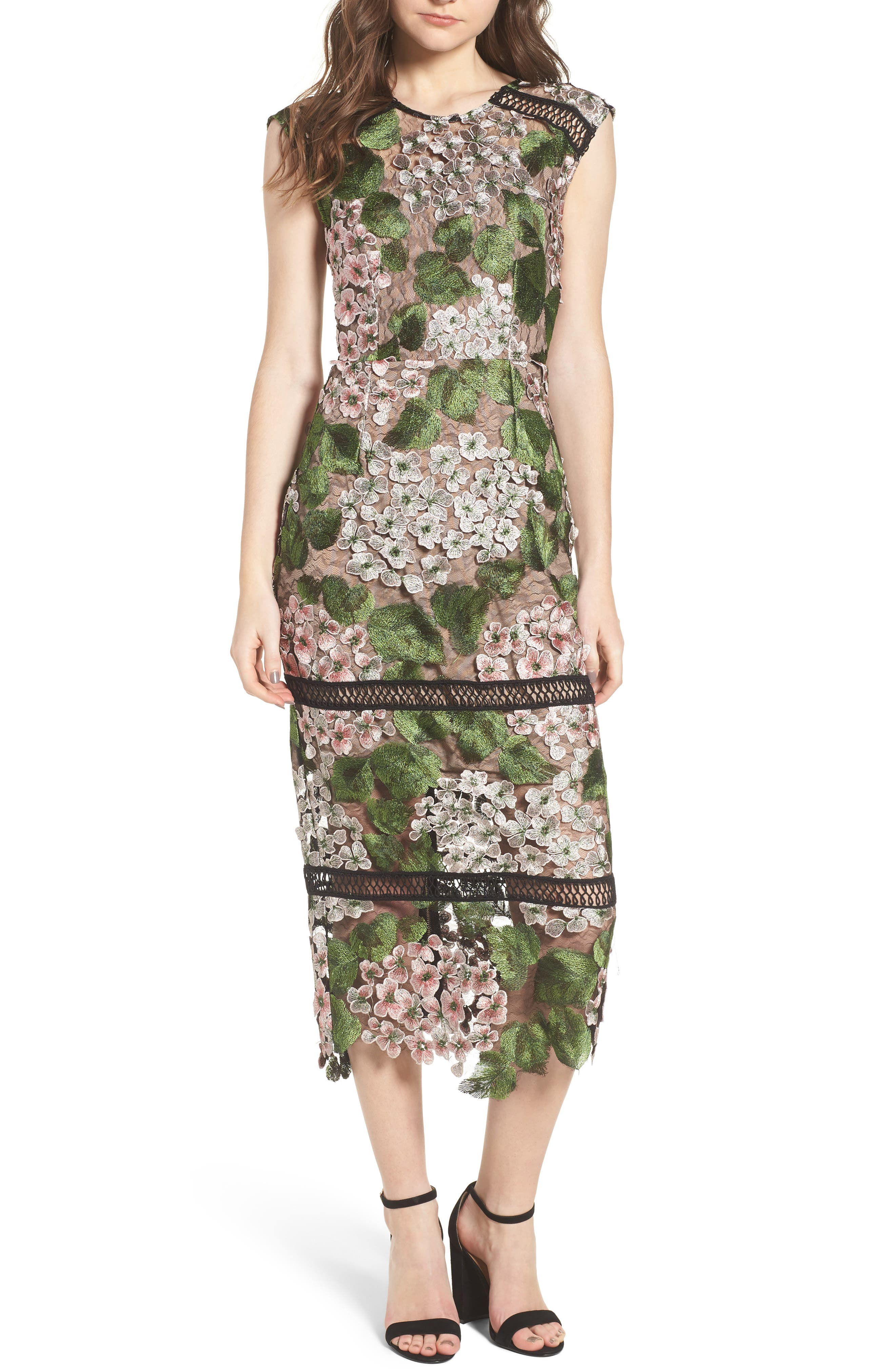Cherry Hydrangea Lace Dress,                             Main thumbnail 1, color,                             Multicolor Pink